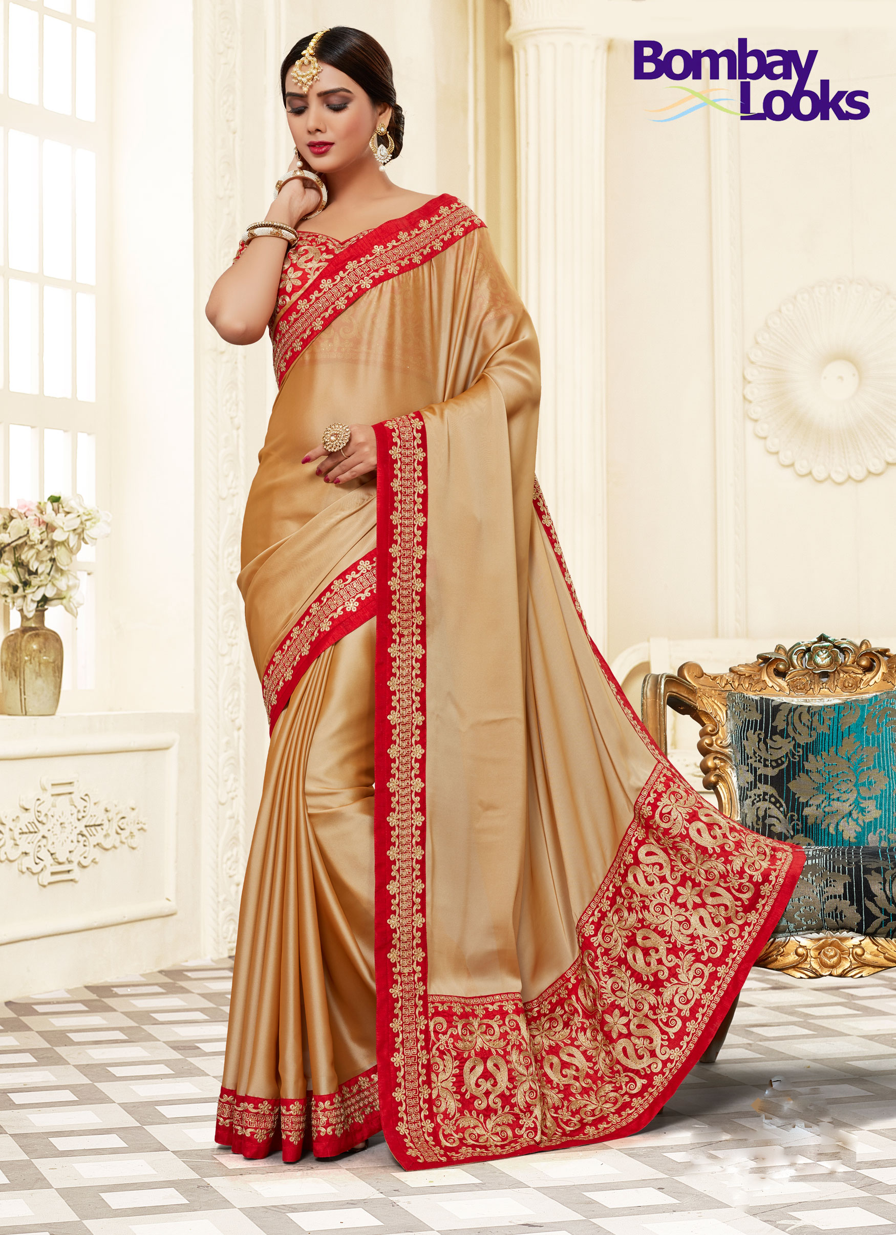 Elegant gold and red saree with stylish blouse