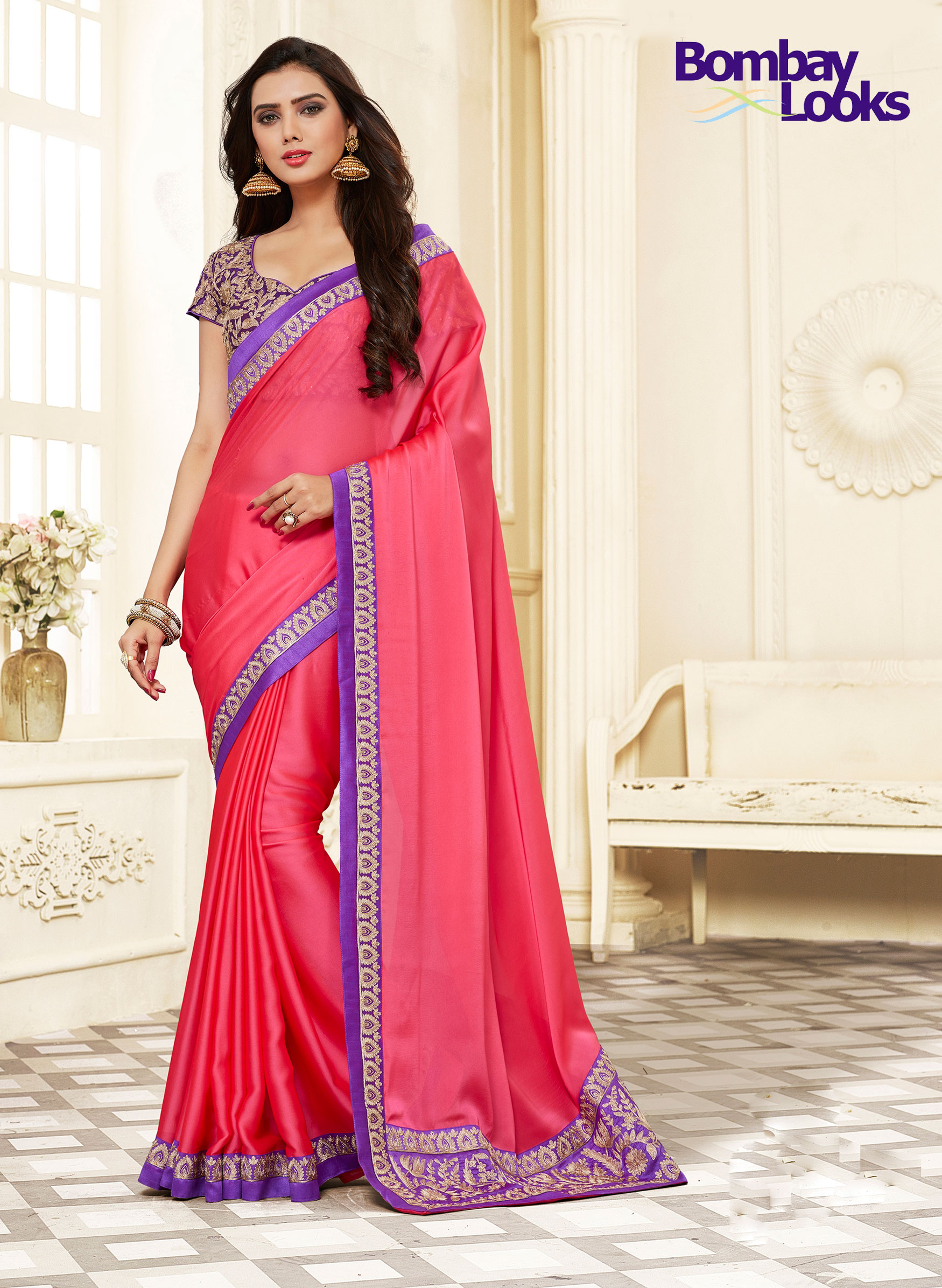 Elegant Coral and Purple saree with stylish blouse