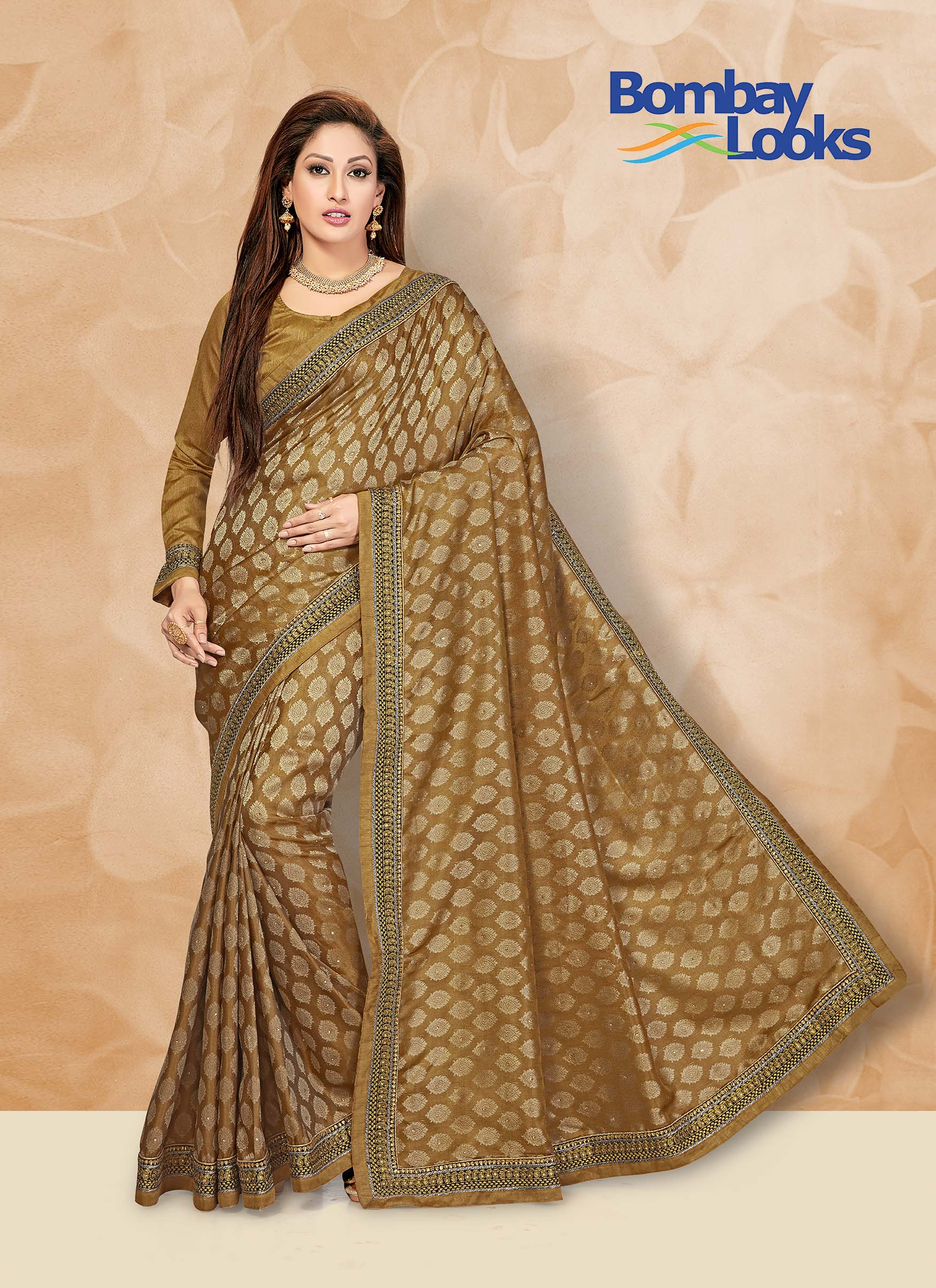 Dark gold saree in jacquard butta fabric with matching blouse