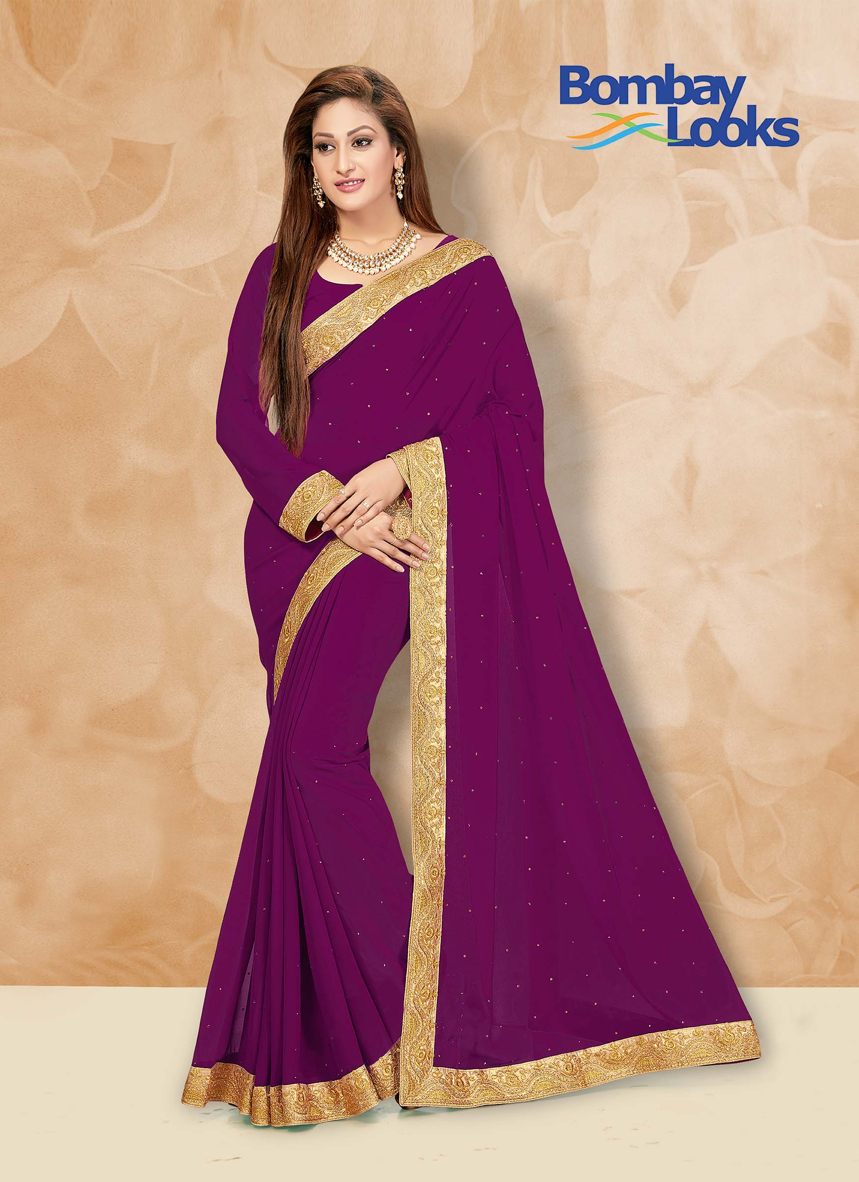 Magenta Georgette saree with matching blouse