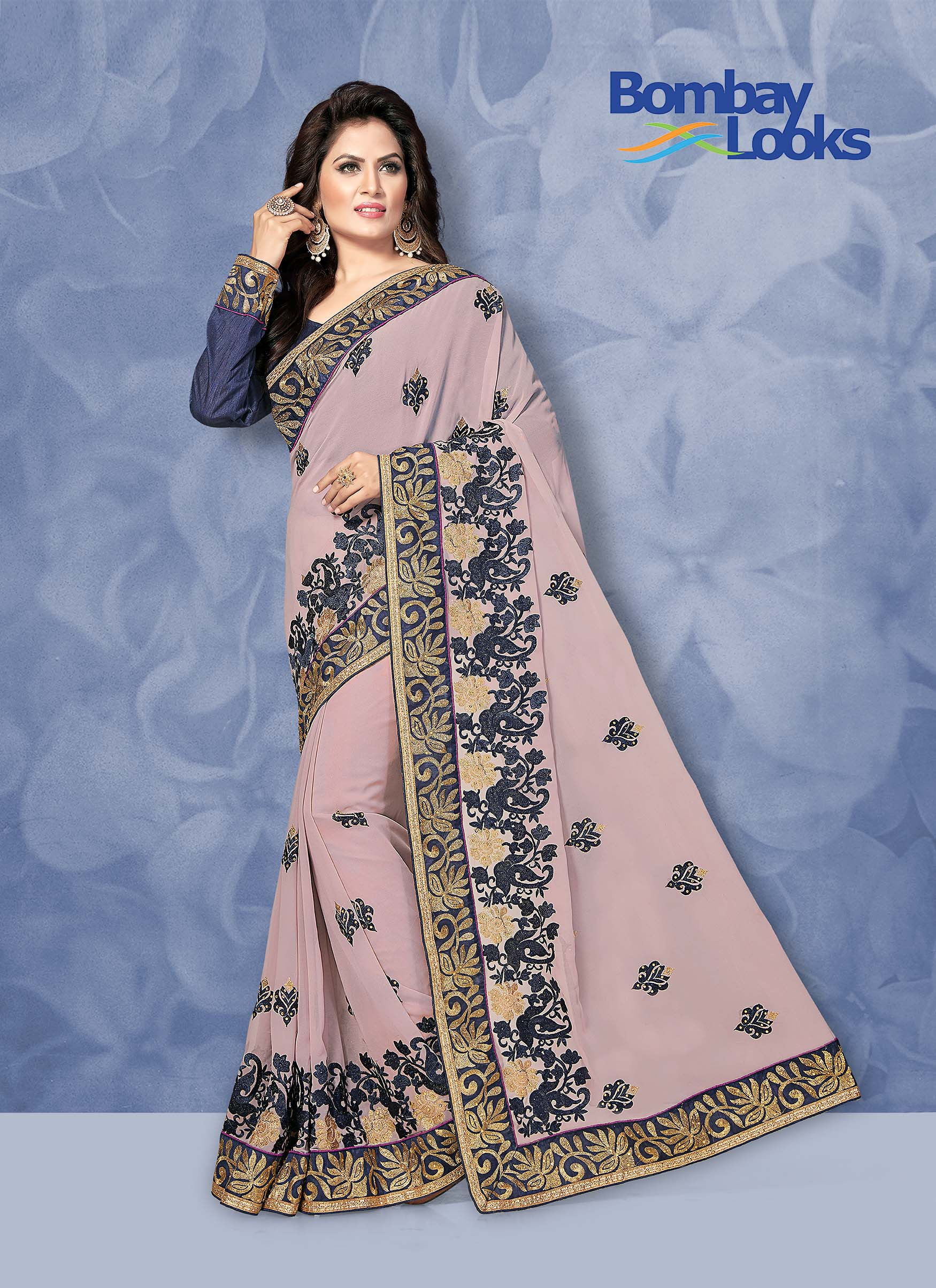 Lilac Georgette saree with heavy embroidered border