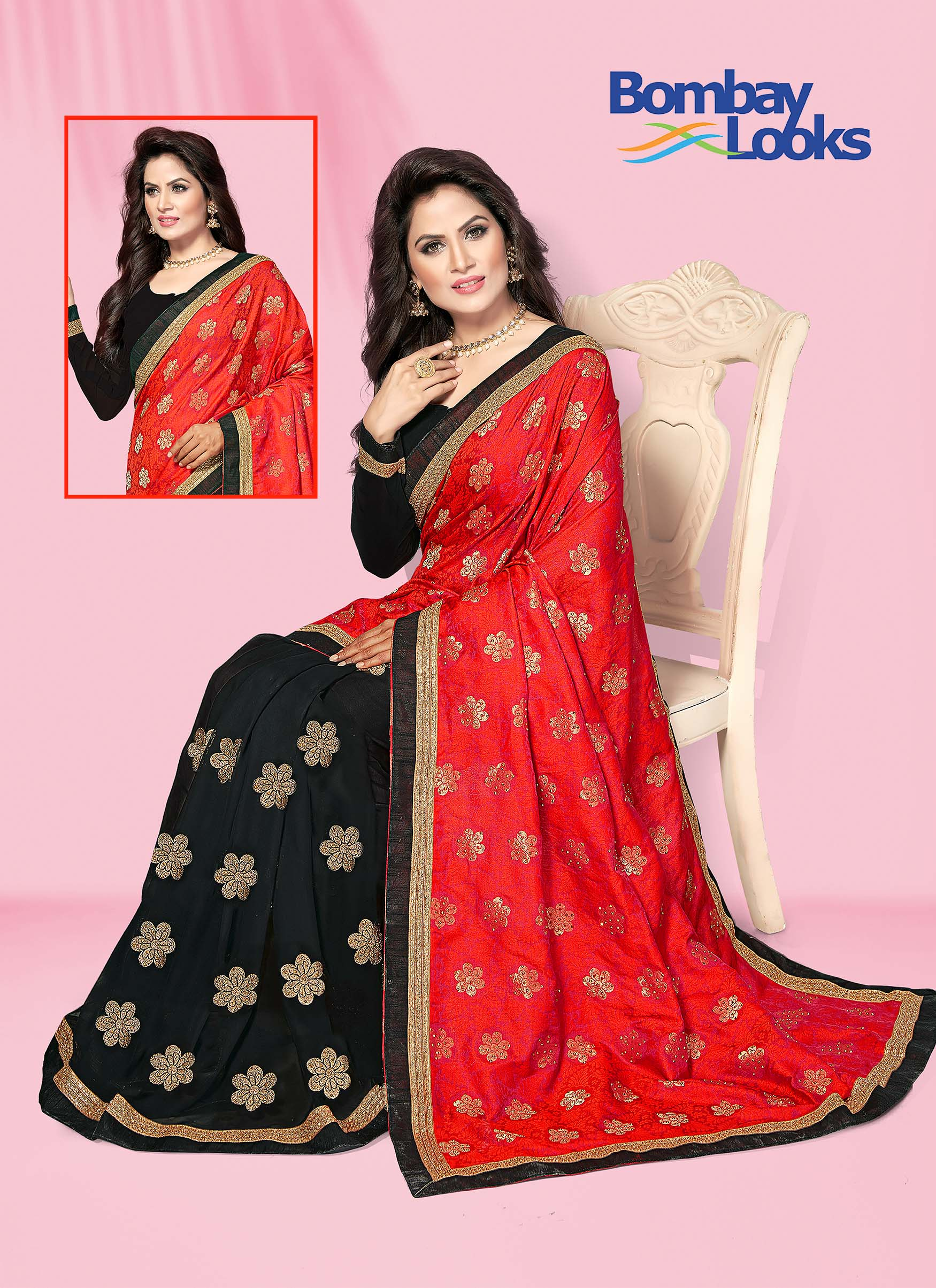 Jacquard Red and Black Half and Half  Saree with Motifs