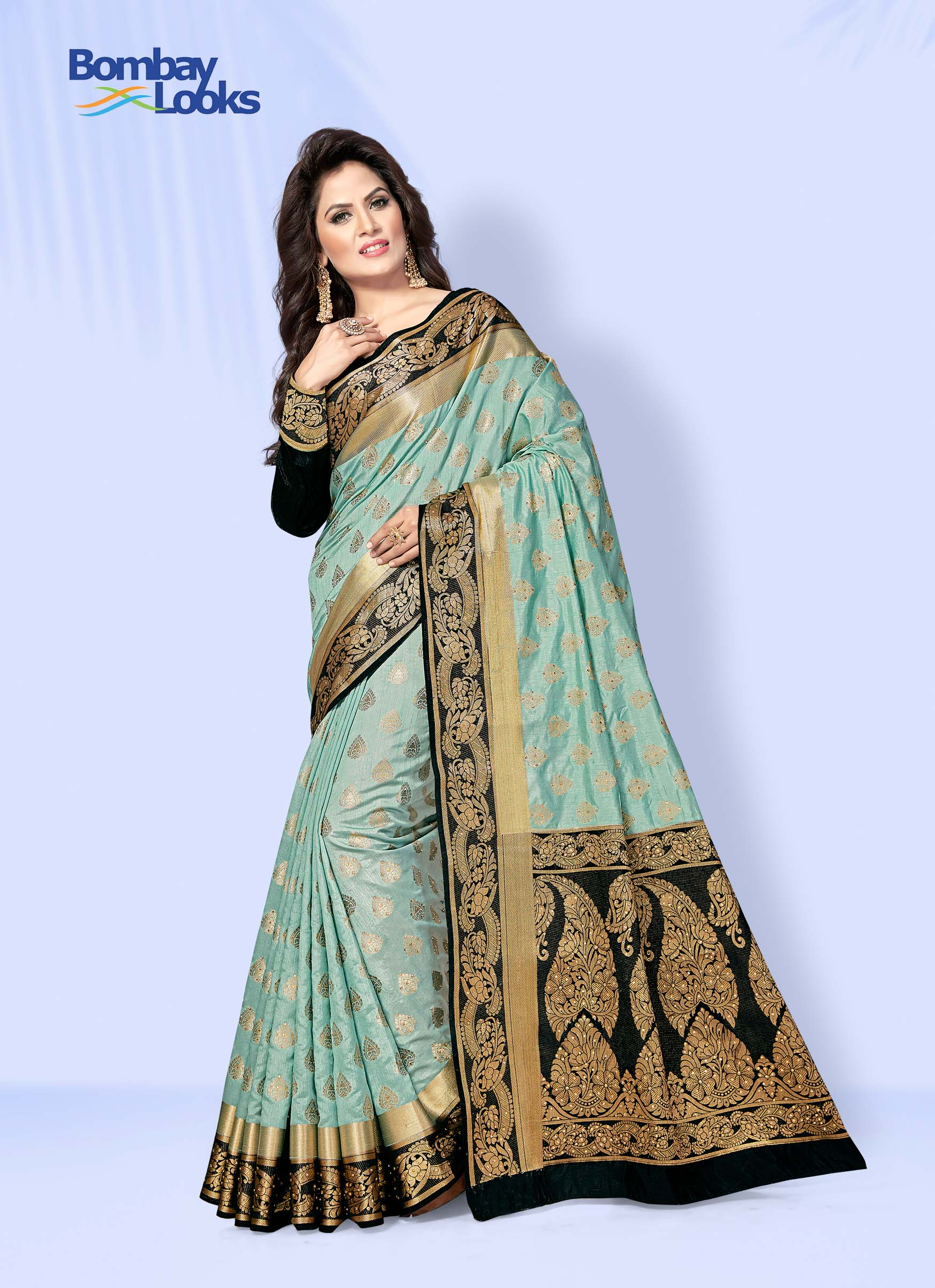 Light blue raw silk Saree with Black and Golden Border and Pallu
