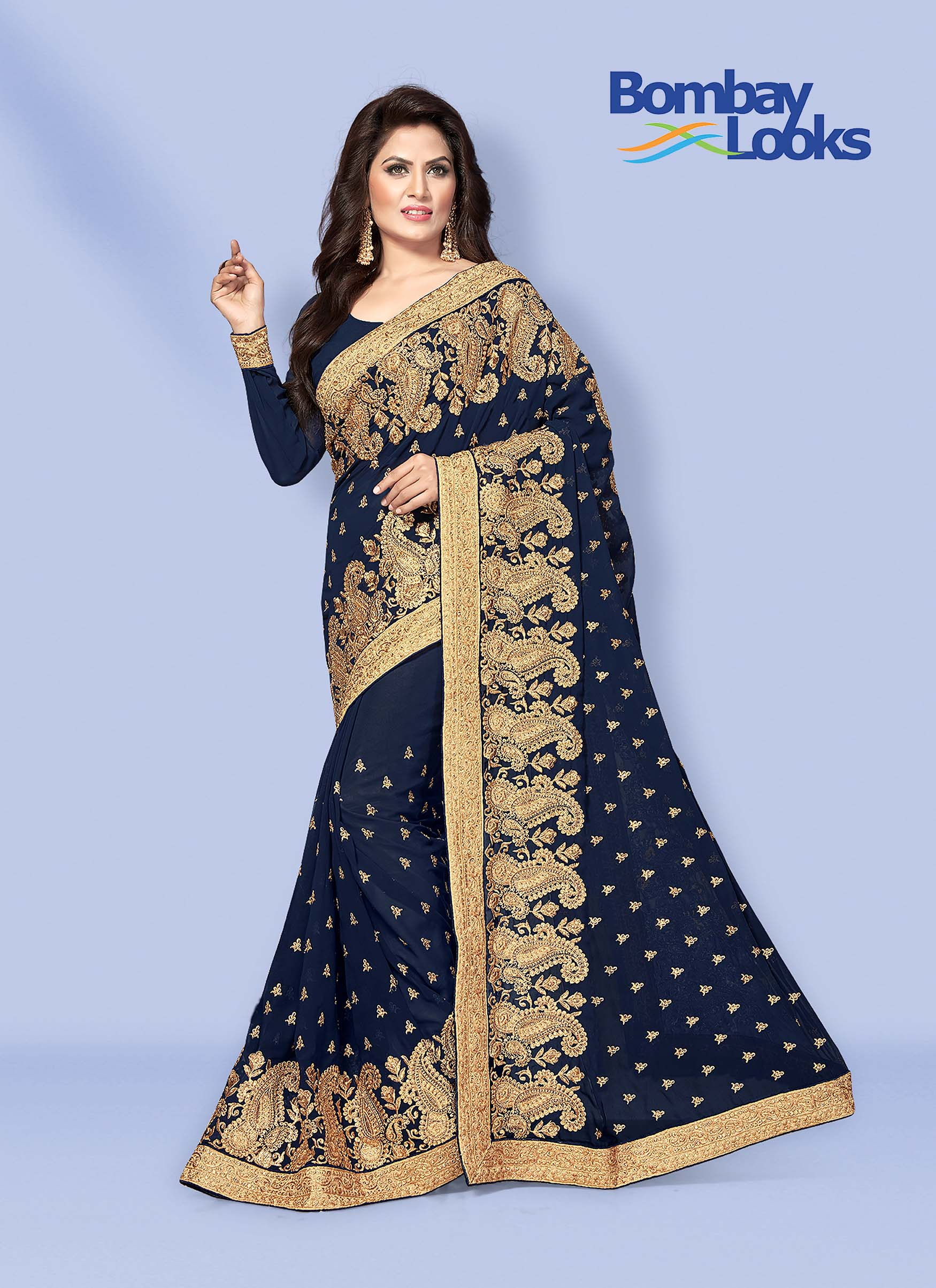 Navy Blue Georgette Saree with Broad Embroidered Border