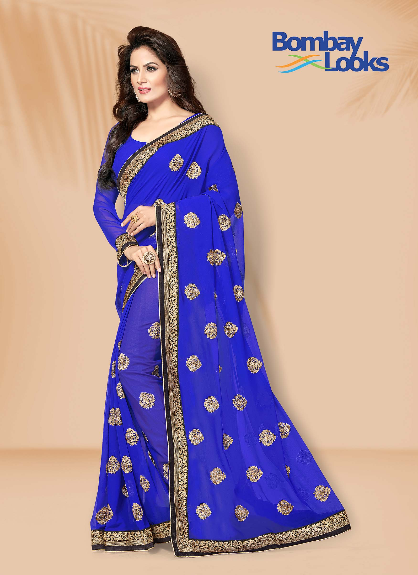 Royal Blue georgette Saree with Golden Zari Border and Motifs