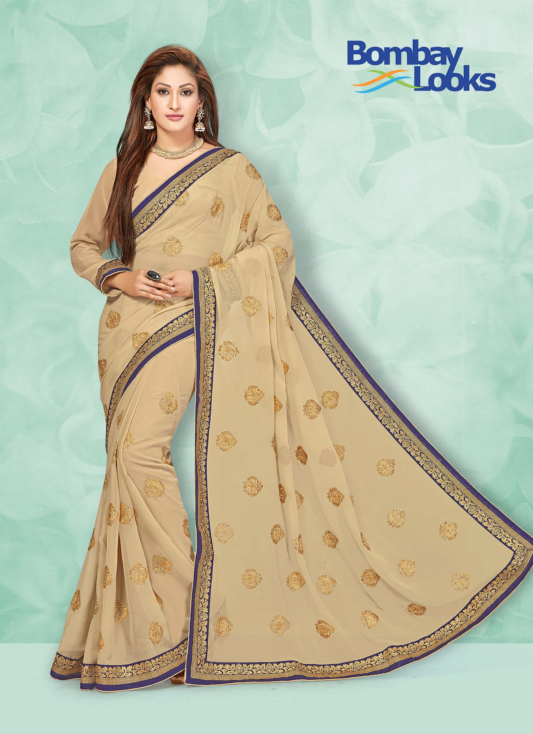 Georgette saree in gold with matching blouse