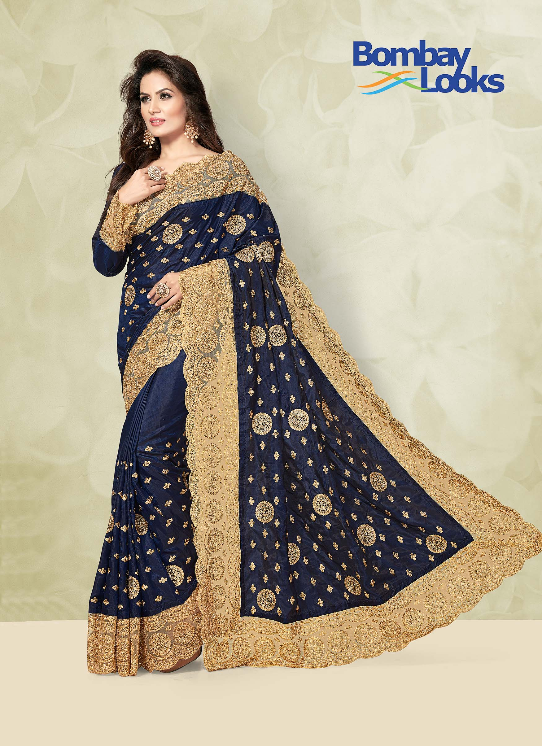 Navy Blue Soft Silk Saree with Gorgeous Heavy net Border