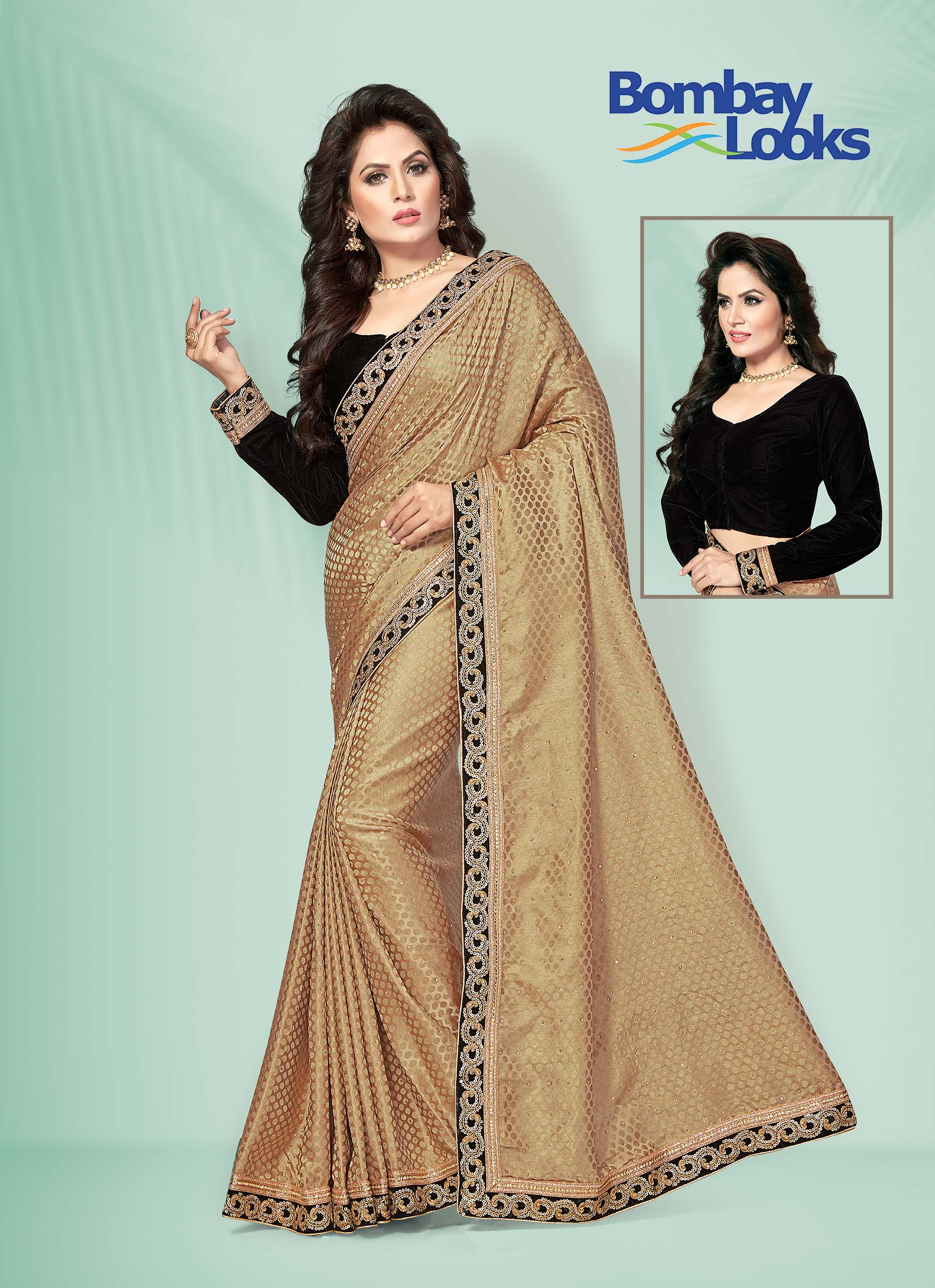 Gold jacquard polka saree with velvet zari border