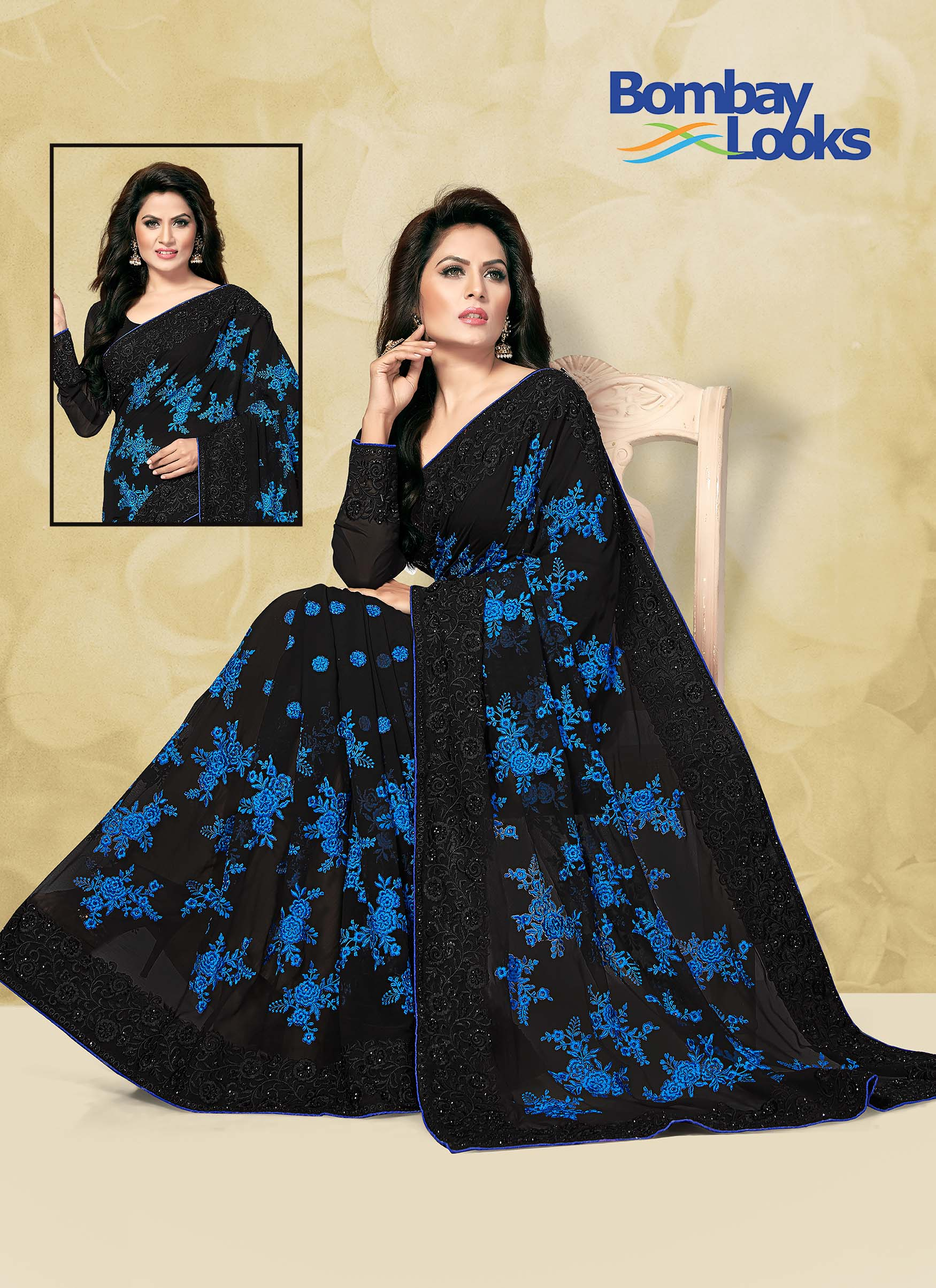 Stylish georgette Saree in an amazing combination of Black and Blue