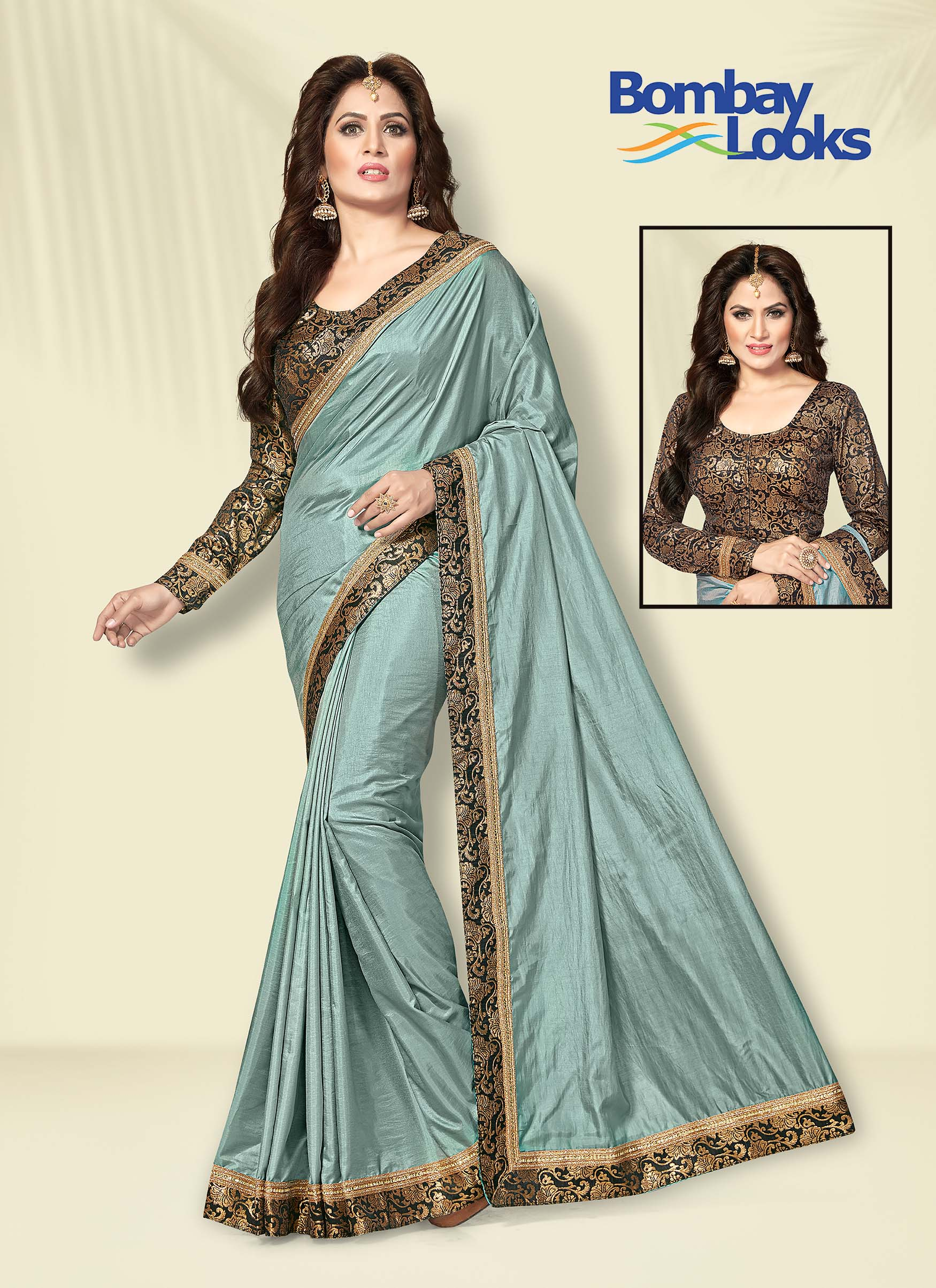 Sky blue soft silk plain gala saree with black and golden brocade border
