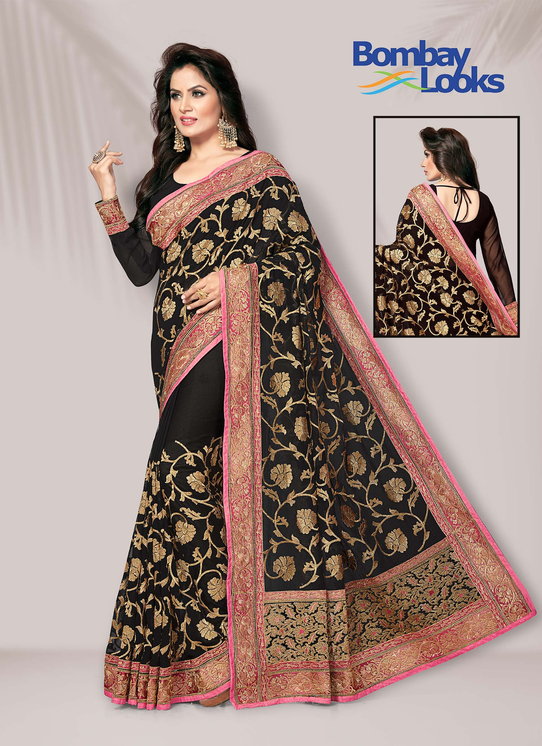 Black georgette Saree with Pink and Golden Zari Border