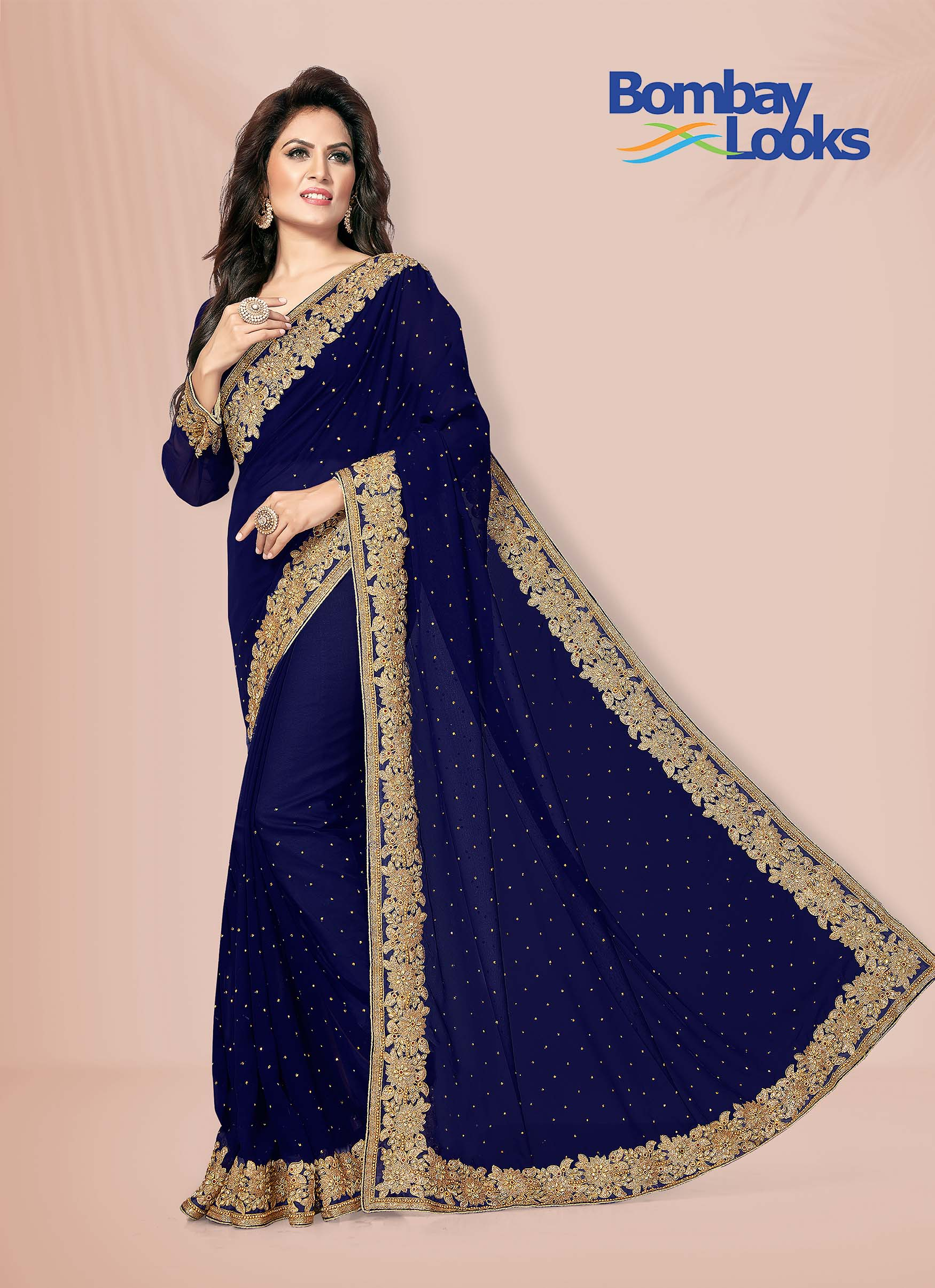 Blue georgette saree with golden embroidered border
