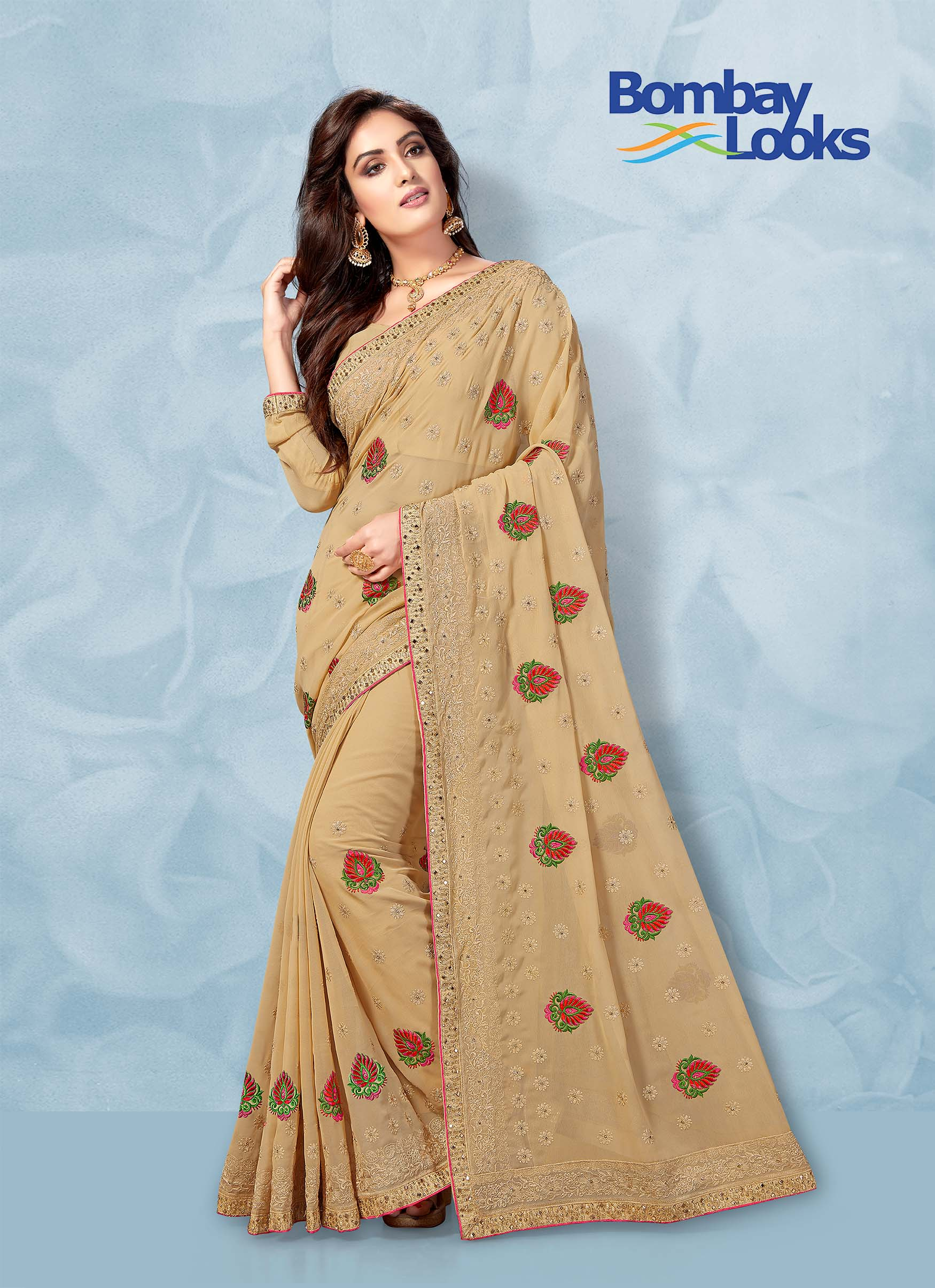 Chikoo colour Georgette saree with colourful embroidery