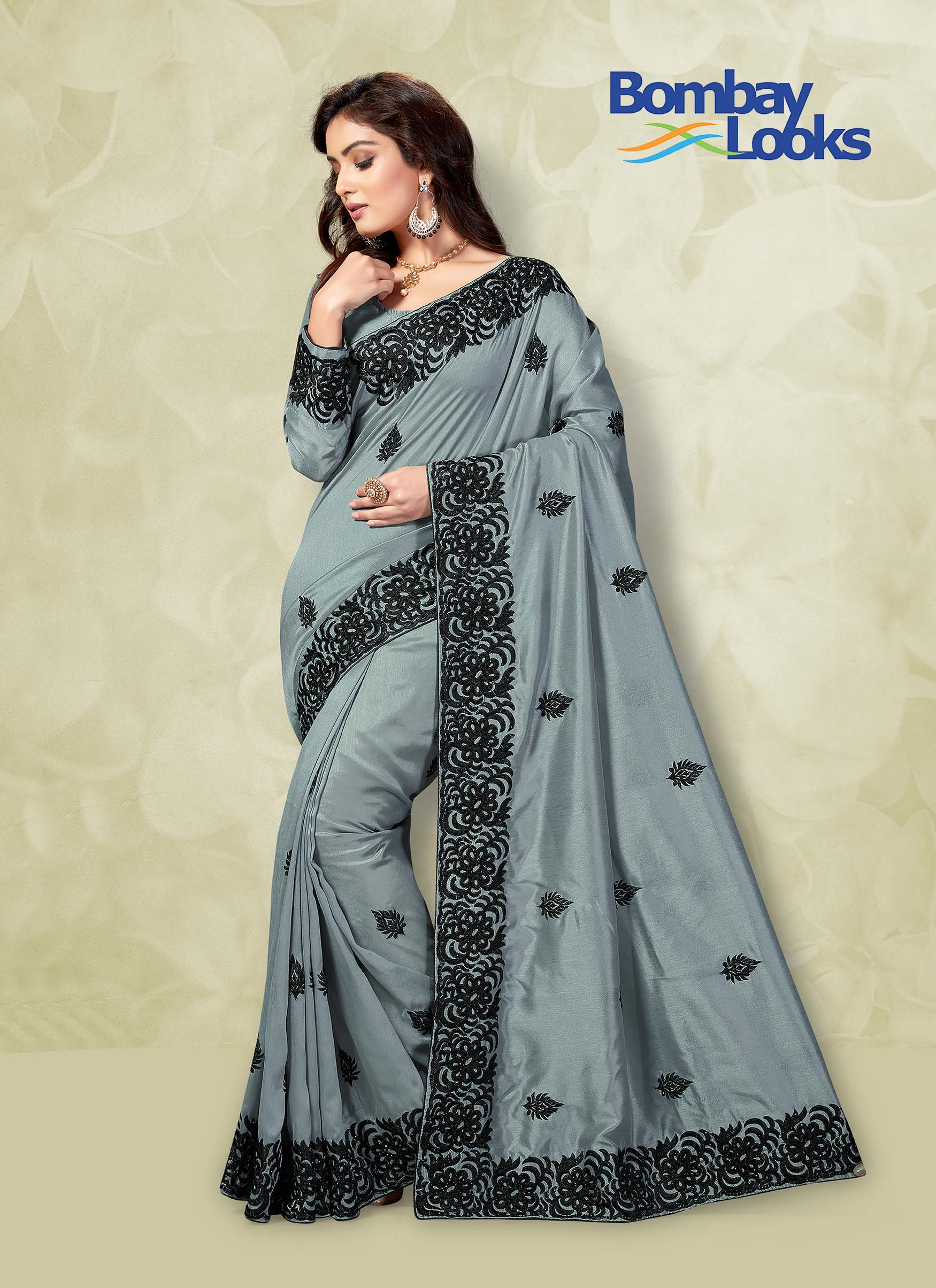 d73a3290168e6 Sarees  Grey embroidered soft silk saree with matching blouse