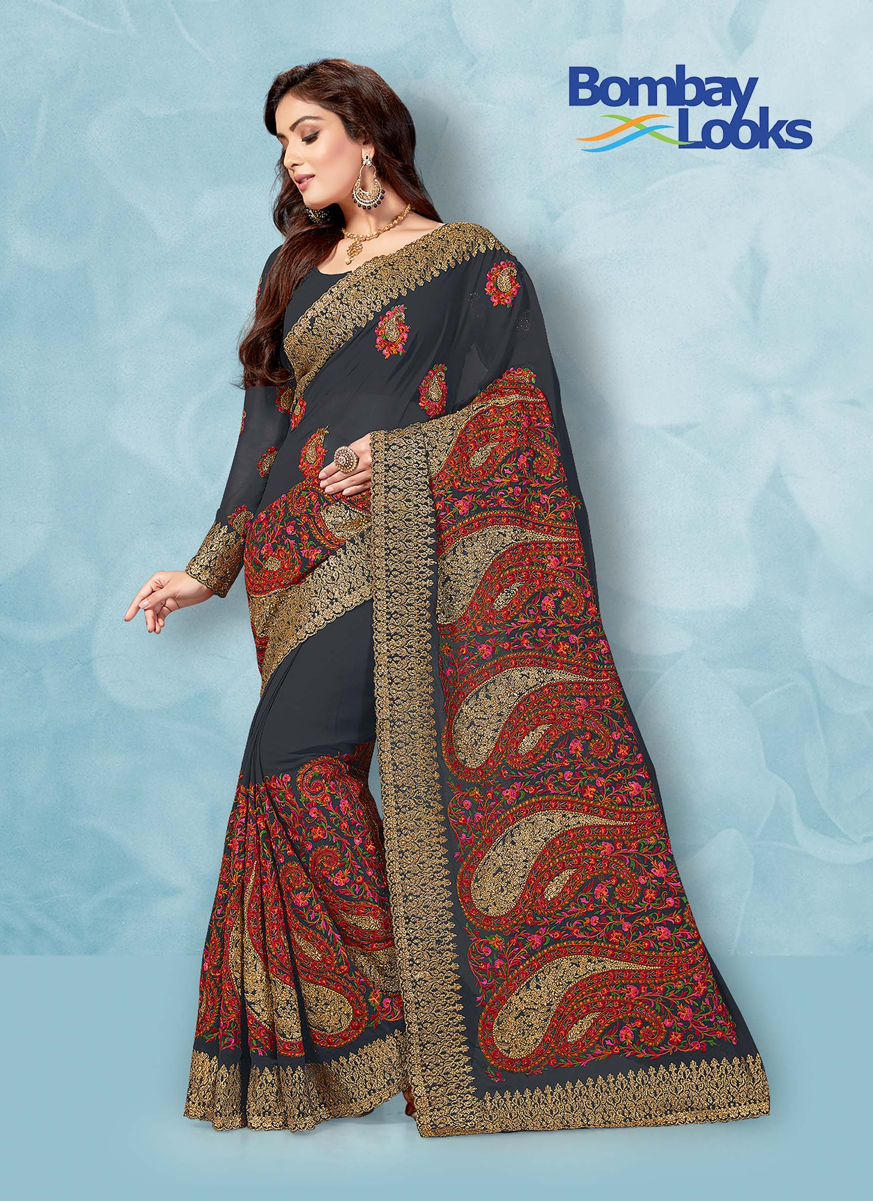 Grey heavy embroidered Georgette saree with matching blouse