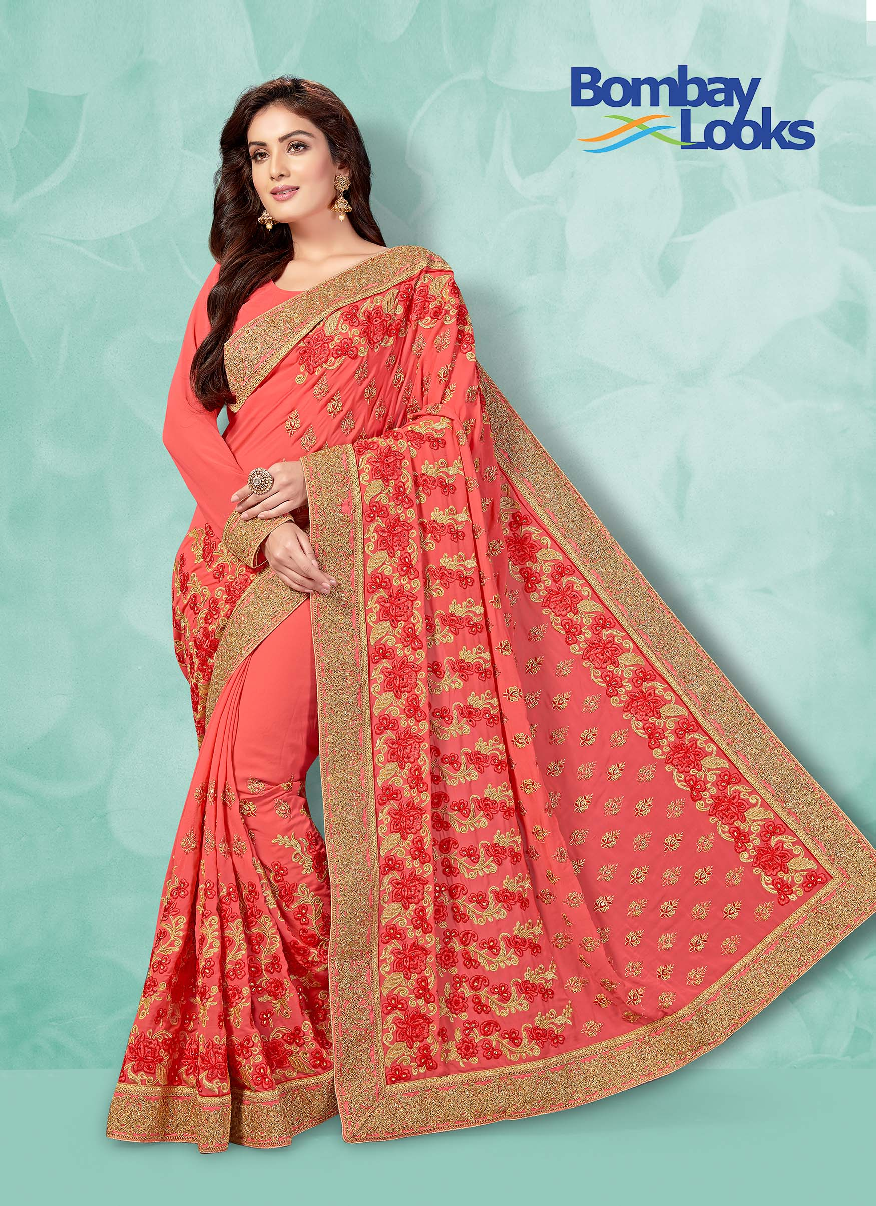 Fancy Georgette saree in Gajri with matching blouse.