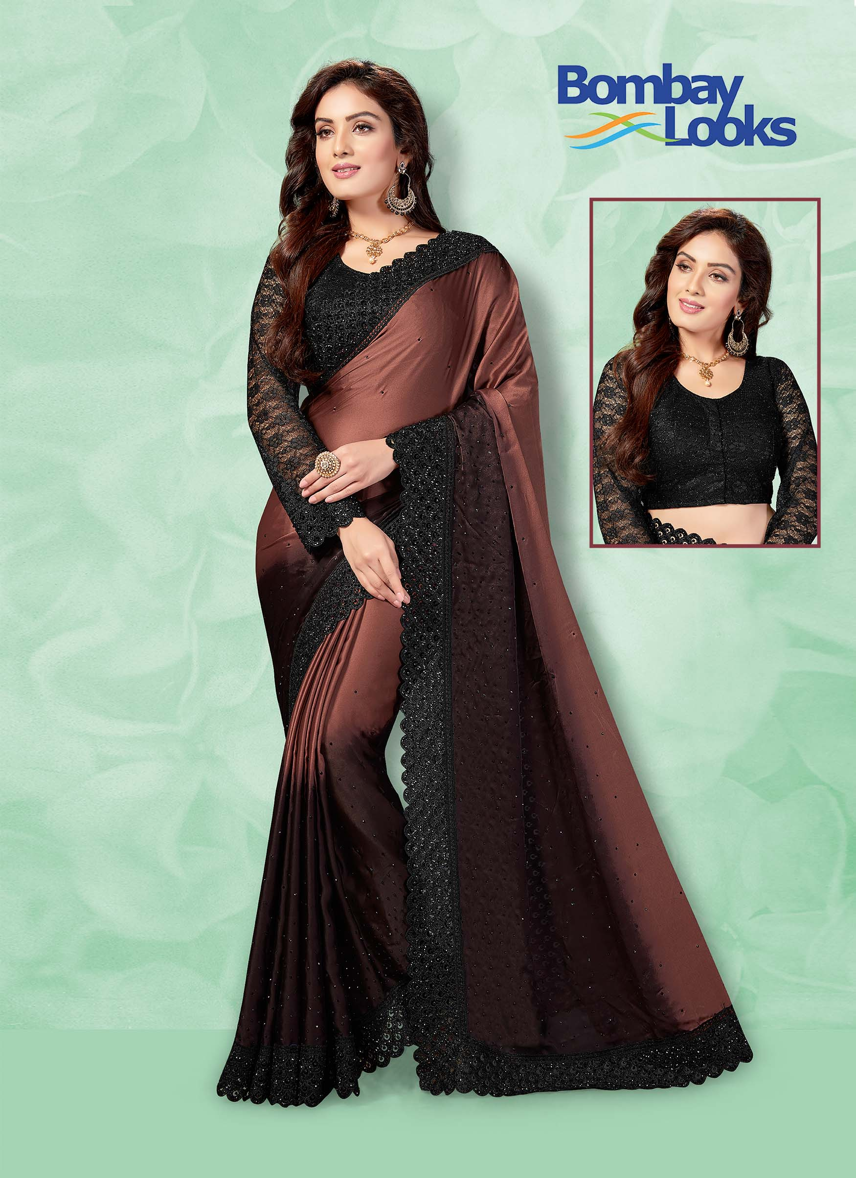 Shaded brown satin saree with contrast black lace  blouse