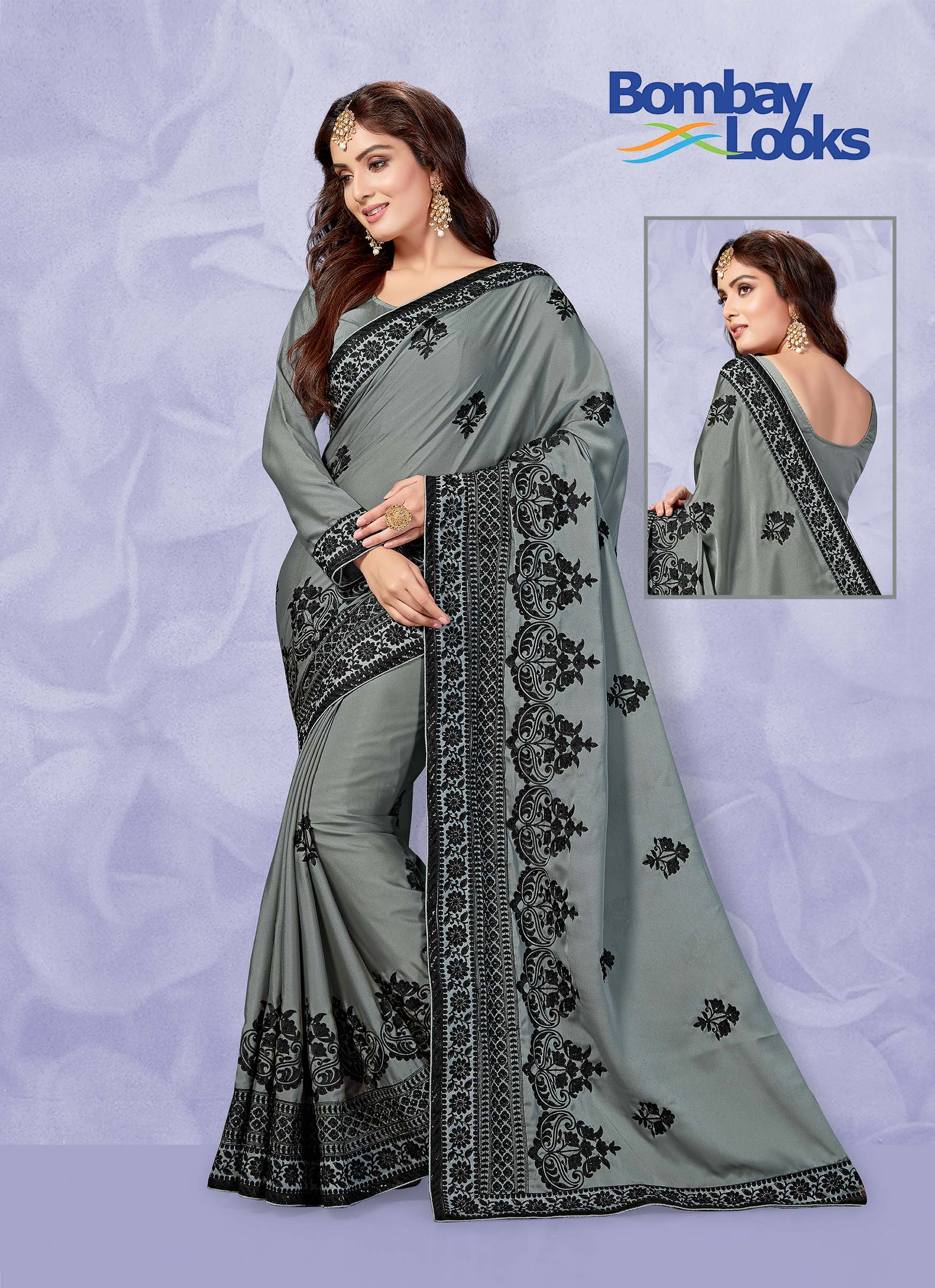 Grey Rangoli saree with heavy black thread embroidery