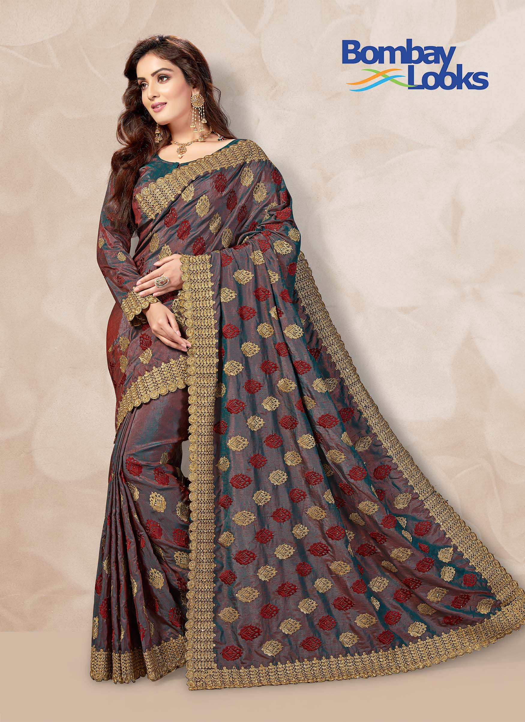 Grayish two tone saree in silk with matching blouse