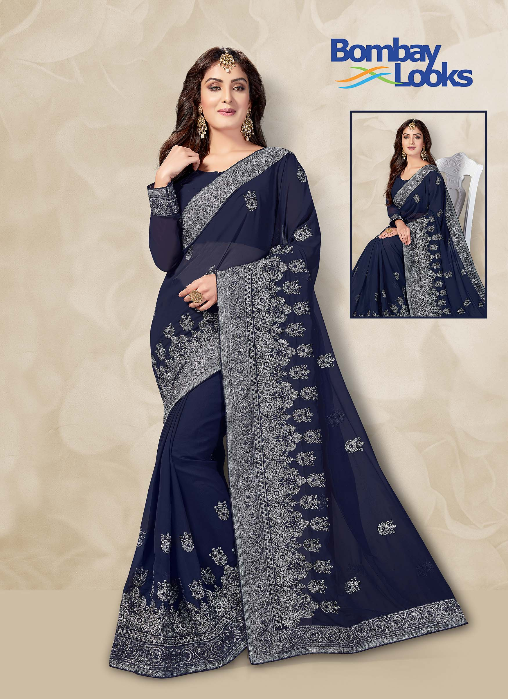 Navy blue Georgette saree with heavy embroidery