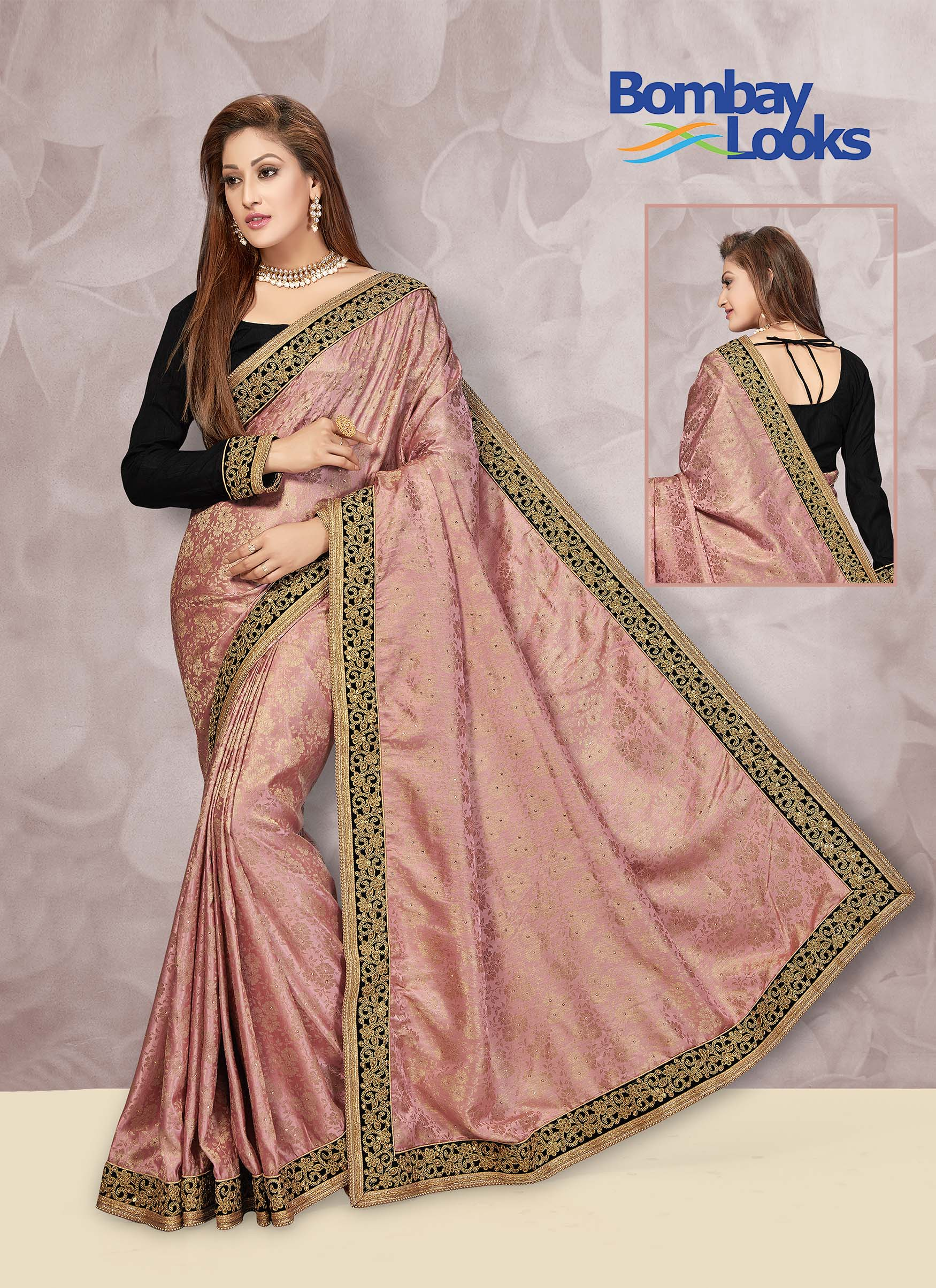 Jacquard saree in subtle rose pink with contrast black blouse
