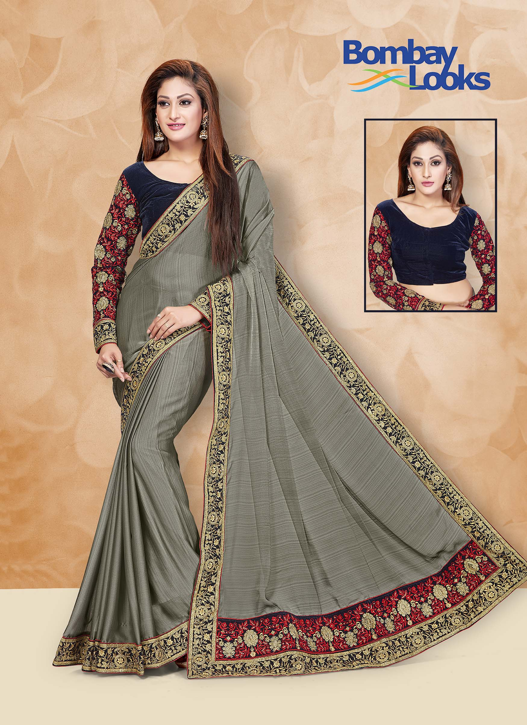 Metallic chiffon saree in grey with contrast velvet blouse