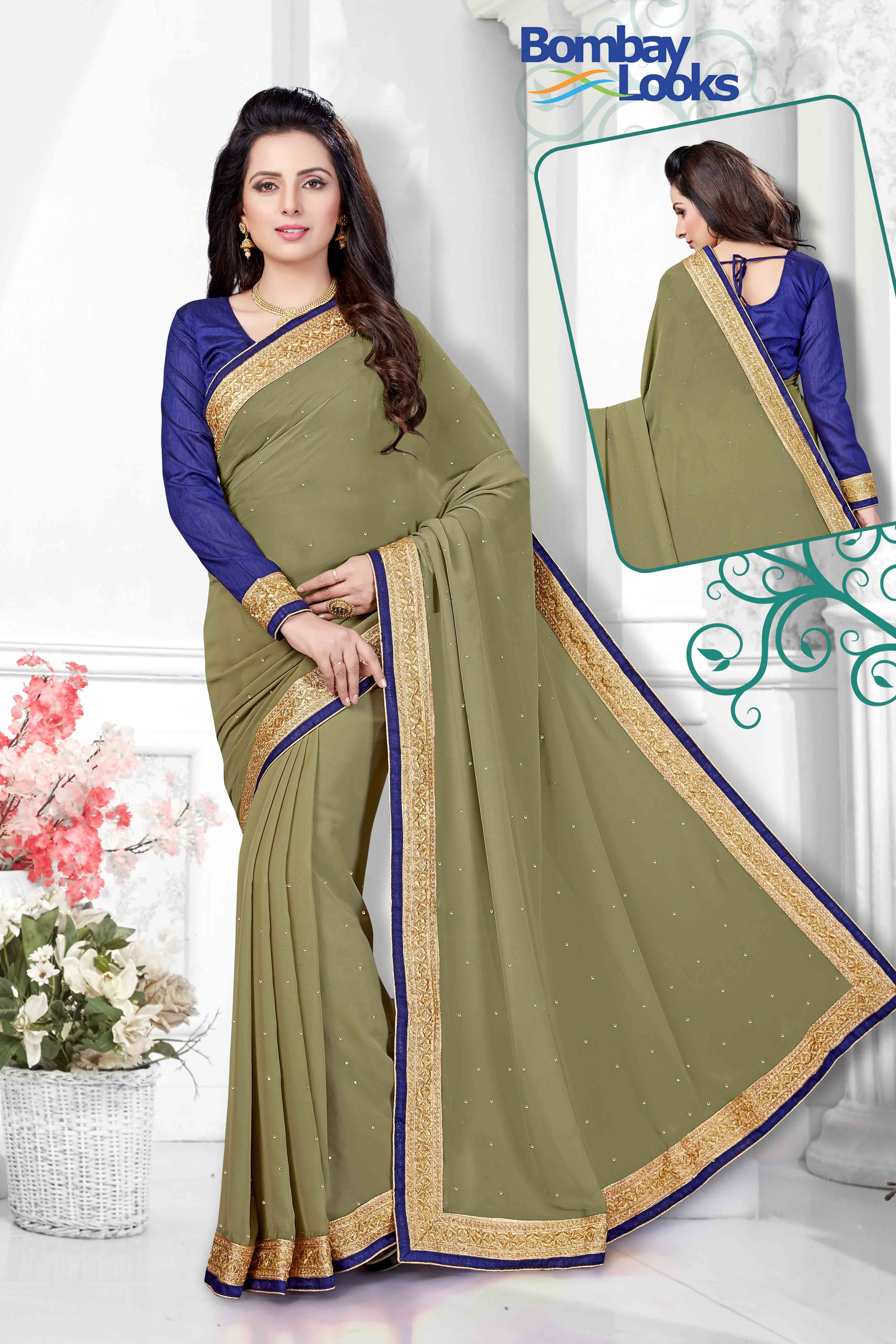Classic olive georgette saree with elegant gold border