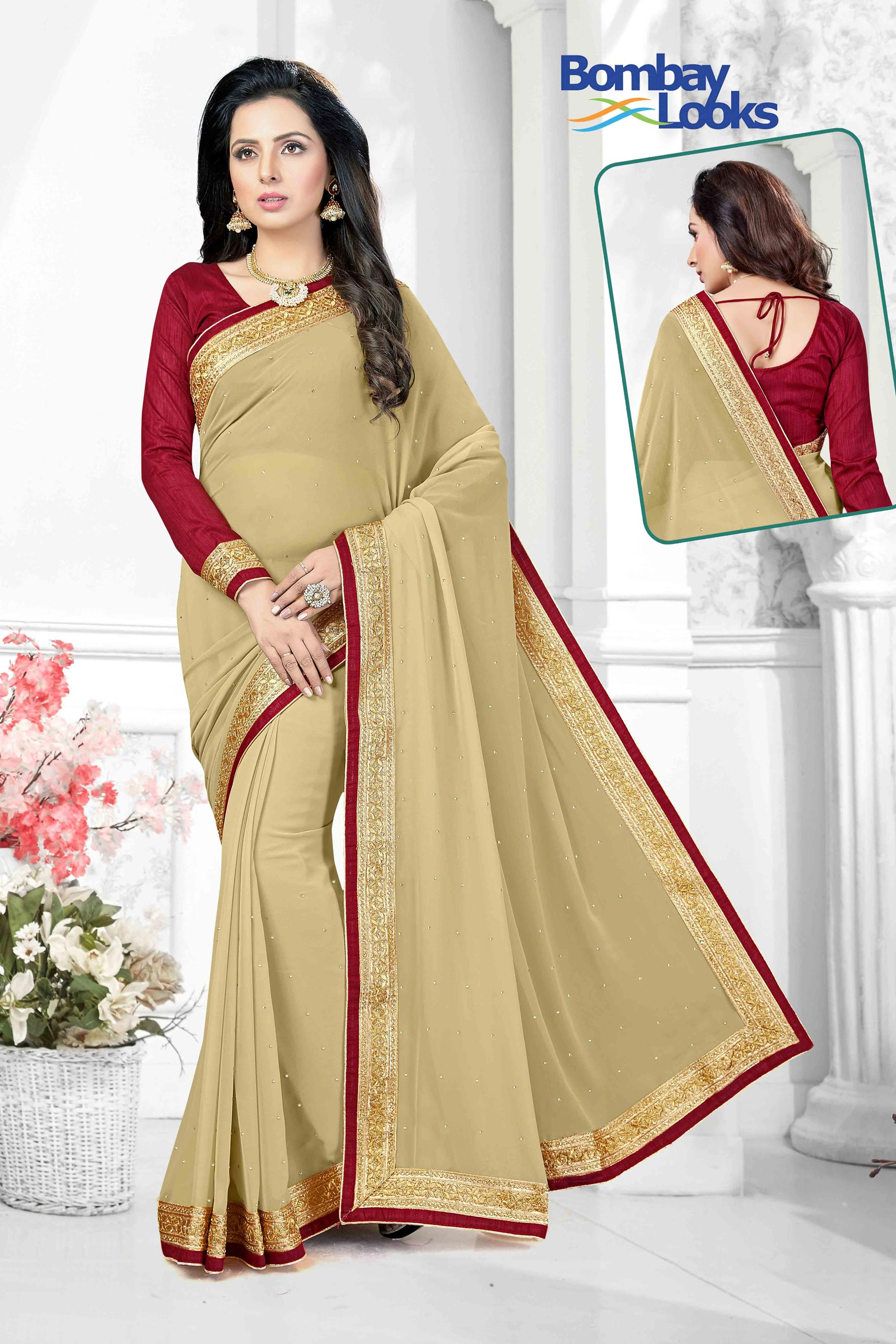 Classic Light Tan georgette saree with elegant gold border