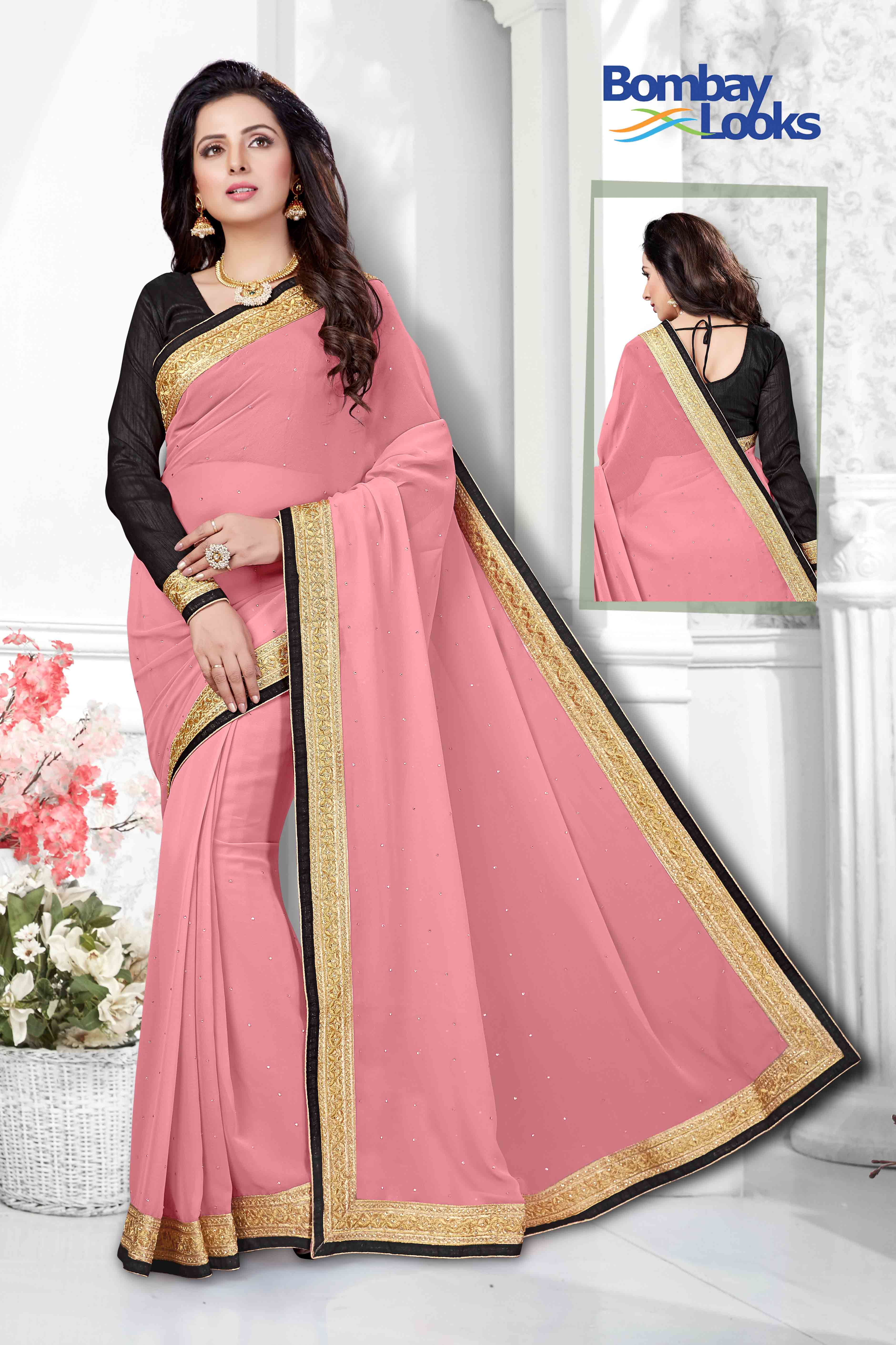 Classic dutsy pink georgette saree with elegant gold border