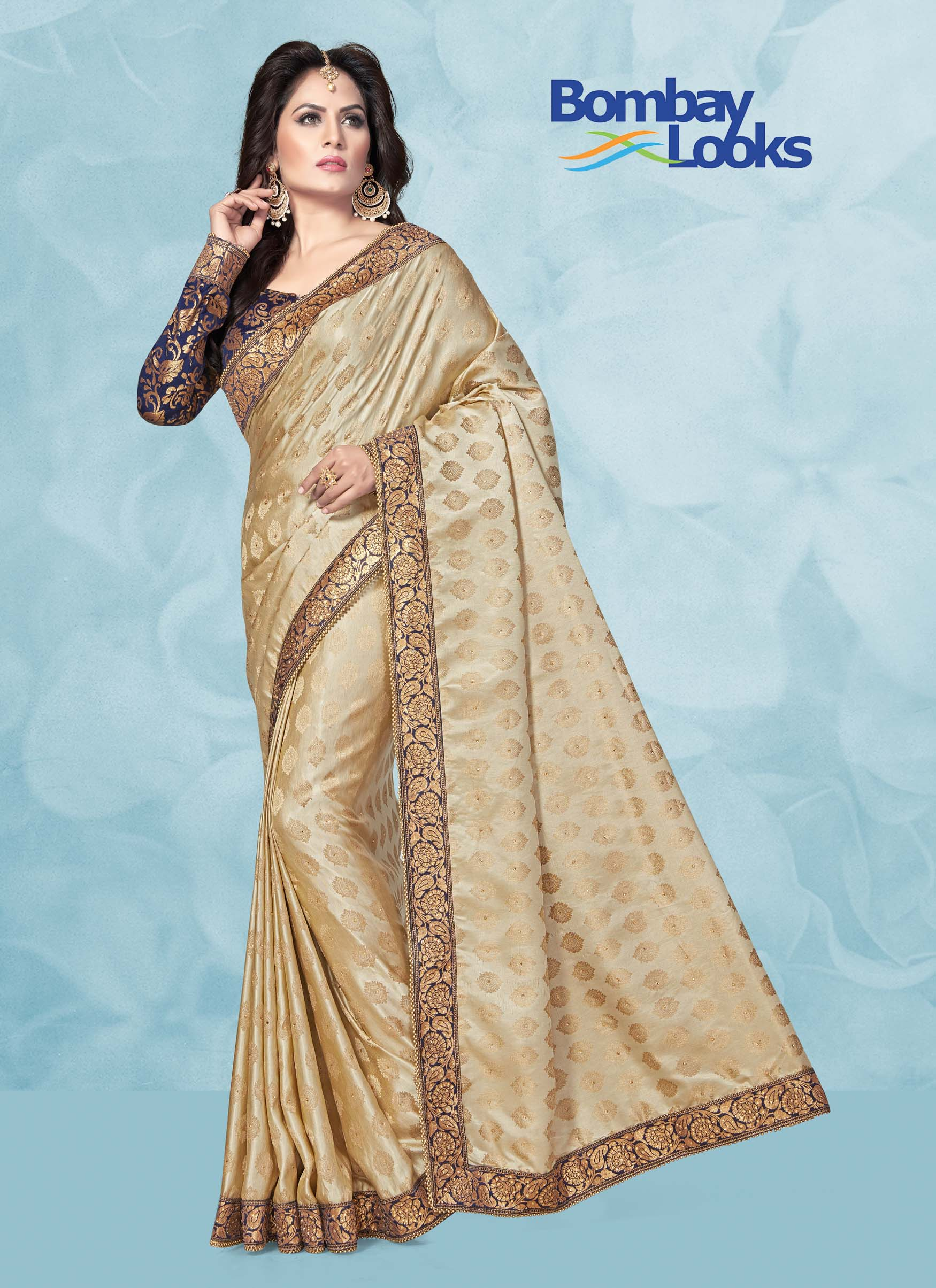 Ivory saree in jacquard butti with brocade blouse