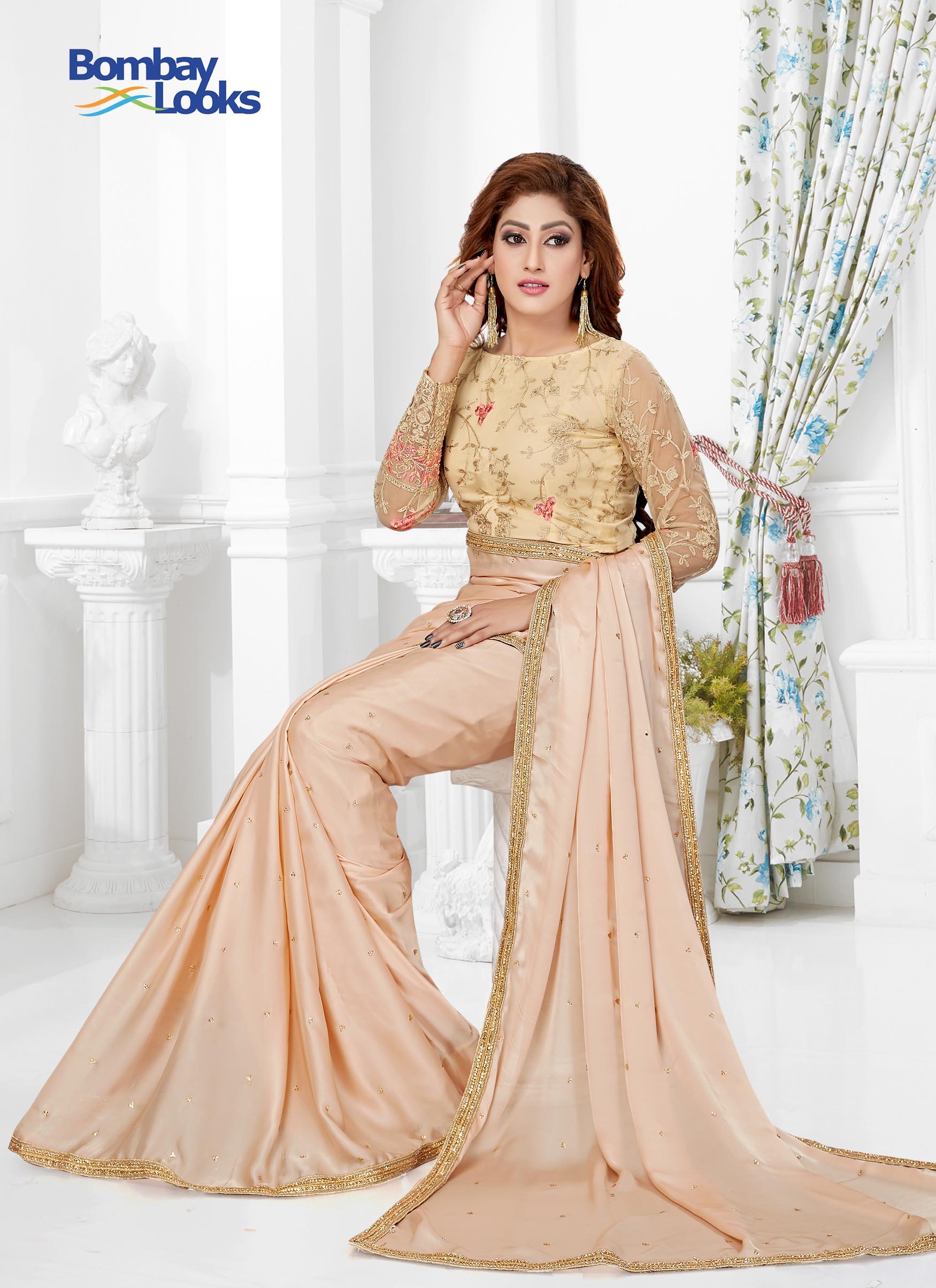658d99a147 Sarees: Light Rose Pink Satin silk Saree with elegant Stone Border