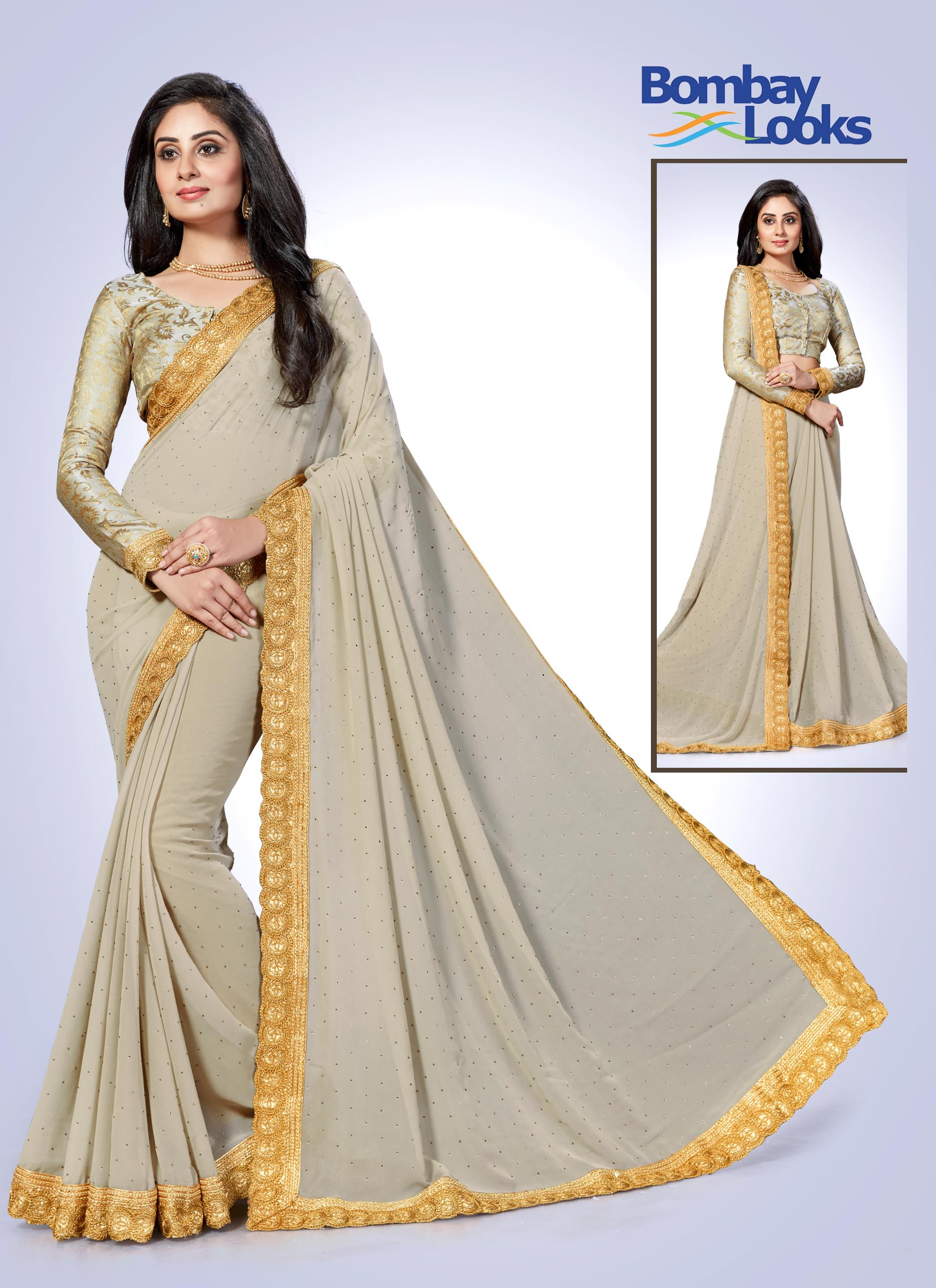 Light grey chiffon saree with gold border