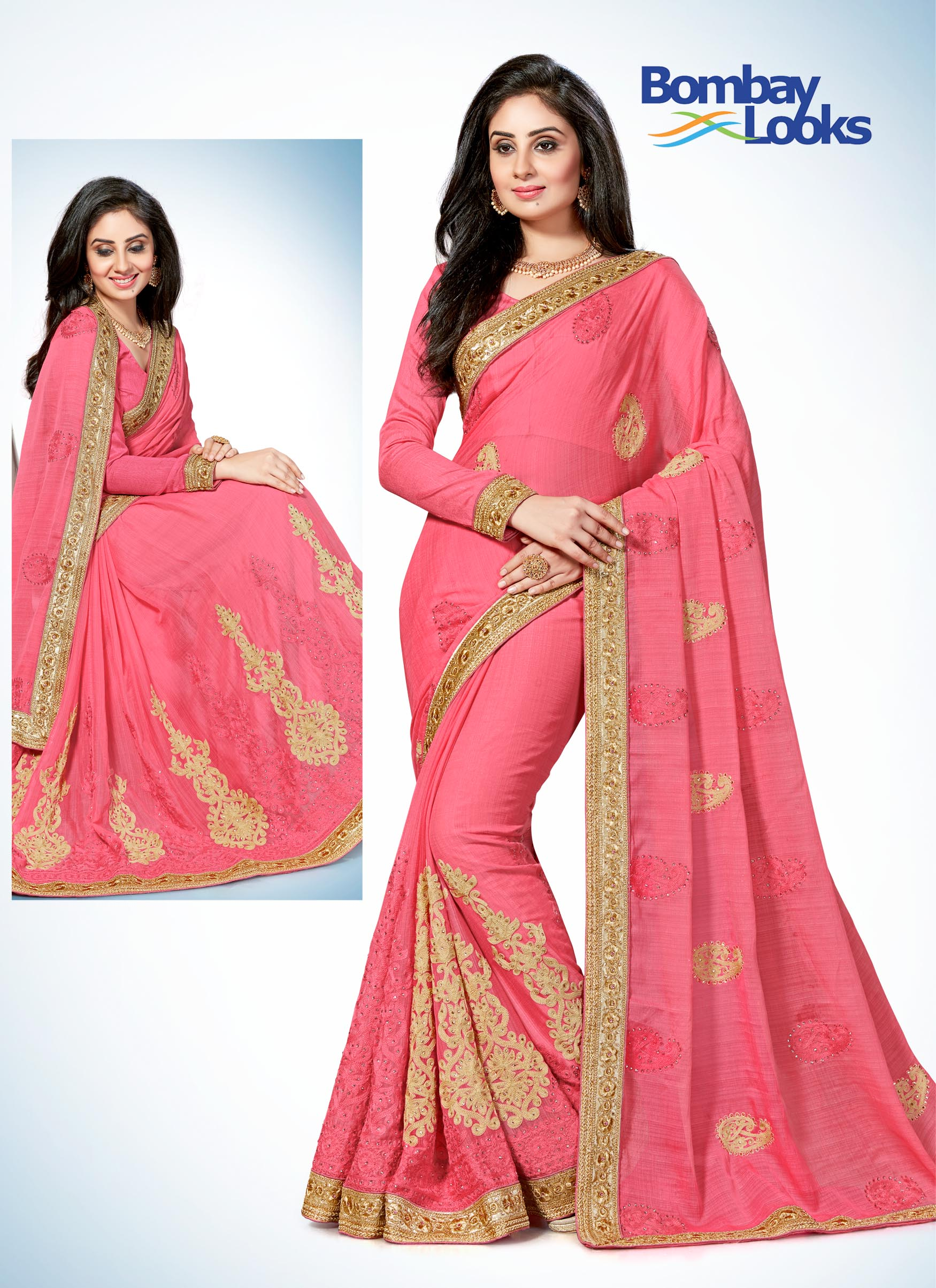 Pink raw silk saree with zari and resham embroidery