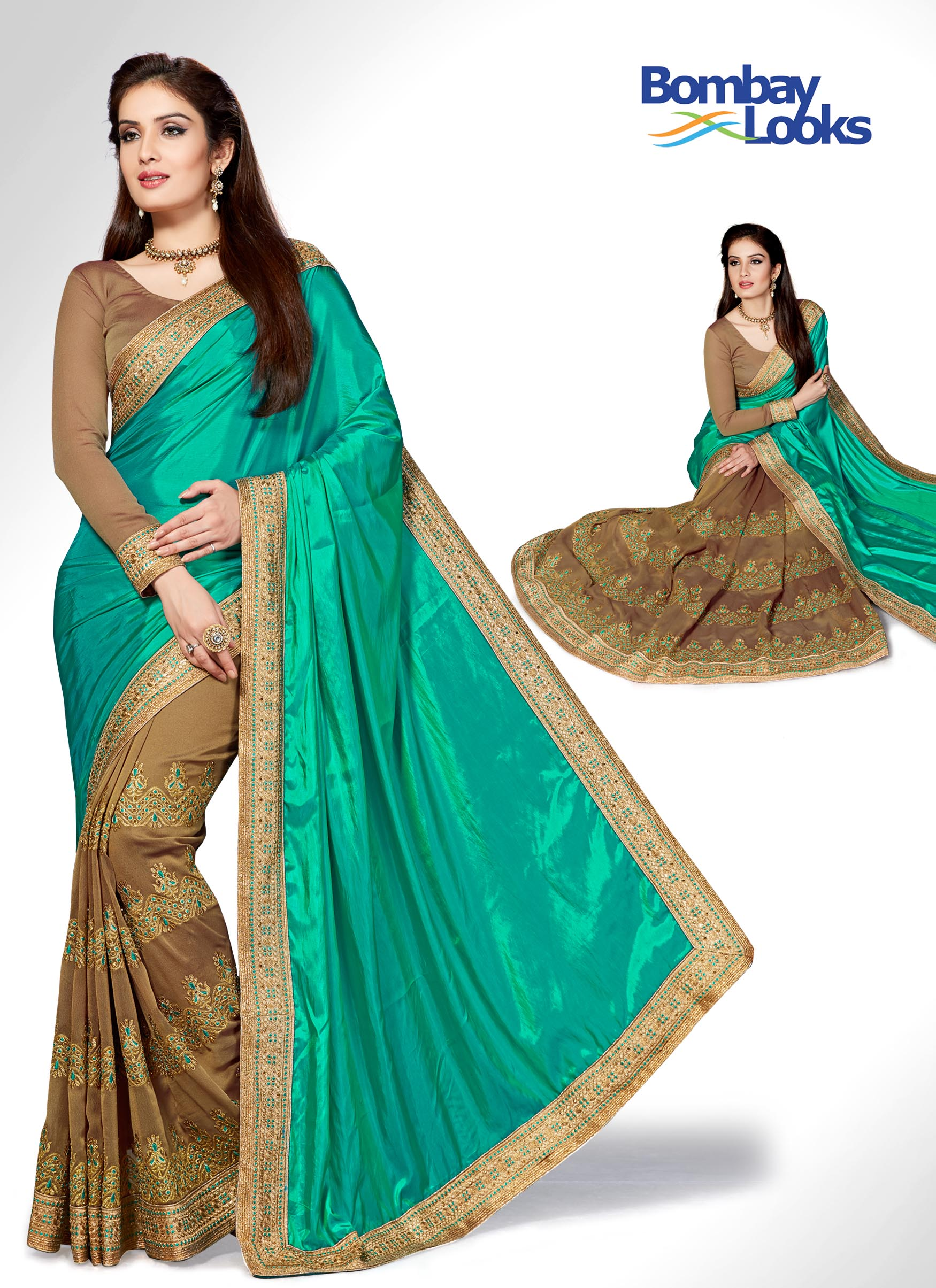 Half and half saree in leaf green and brown with tonal embroidery