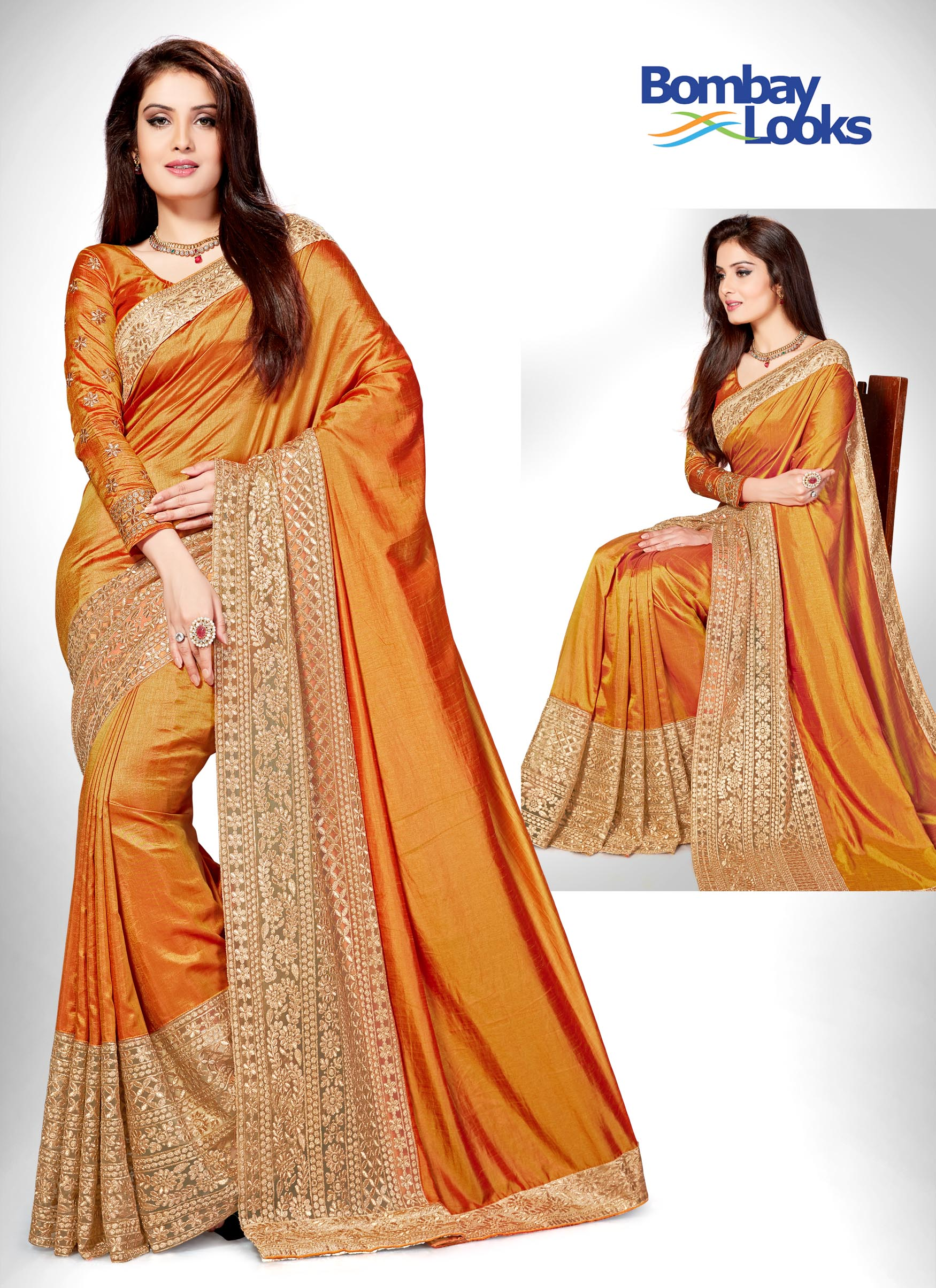 1d5f9d5fa8 Sarees: Orange silk saree with gold border and heavy gold embroidery