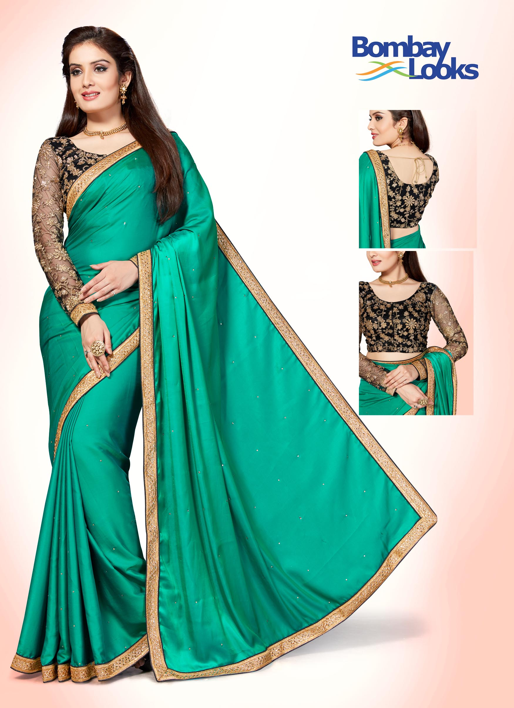 Aqua green satin silk saree with contrasting black blouse