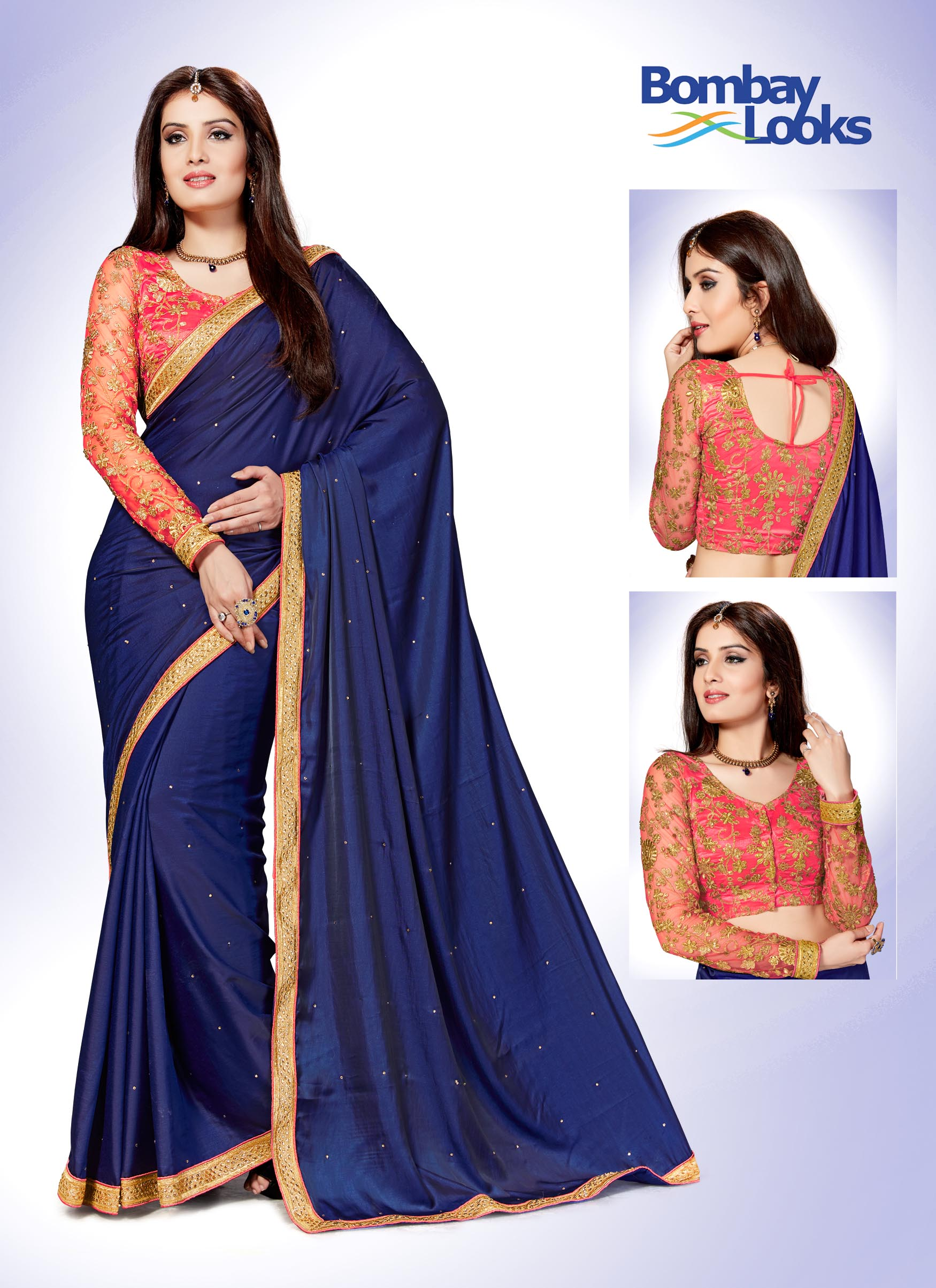 Blue satin silk saree with coral pink embroidered blouse