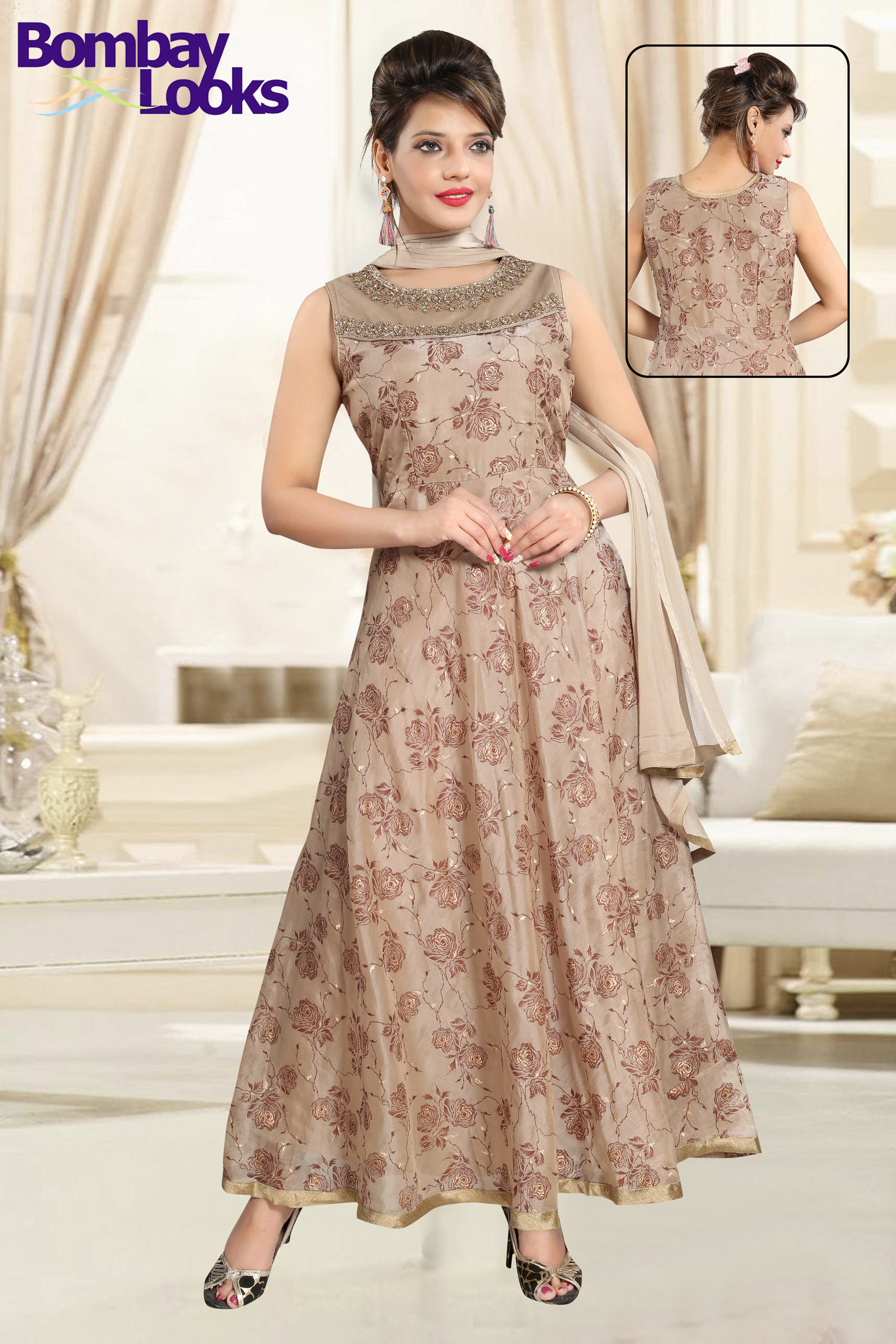 Classic Light Brown Anarkali  suit stone work