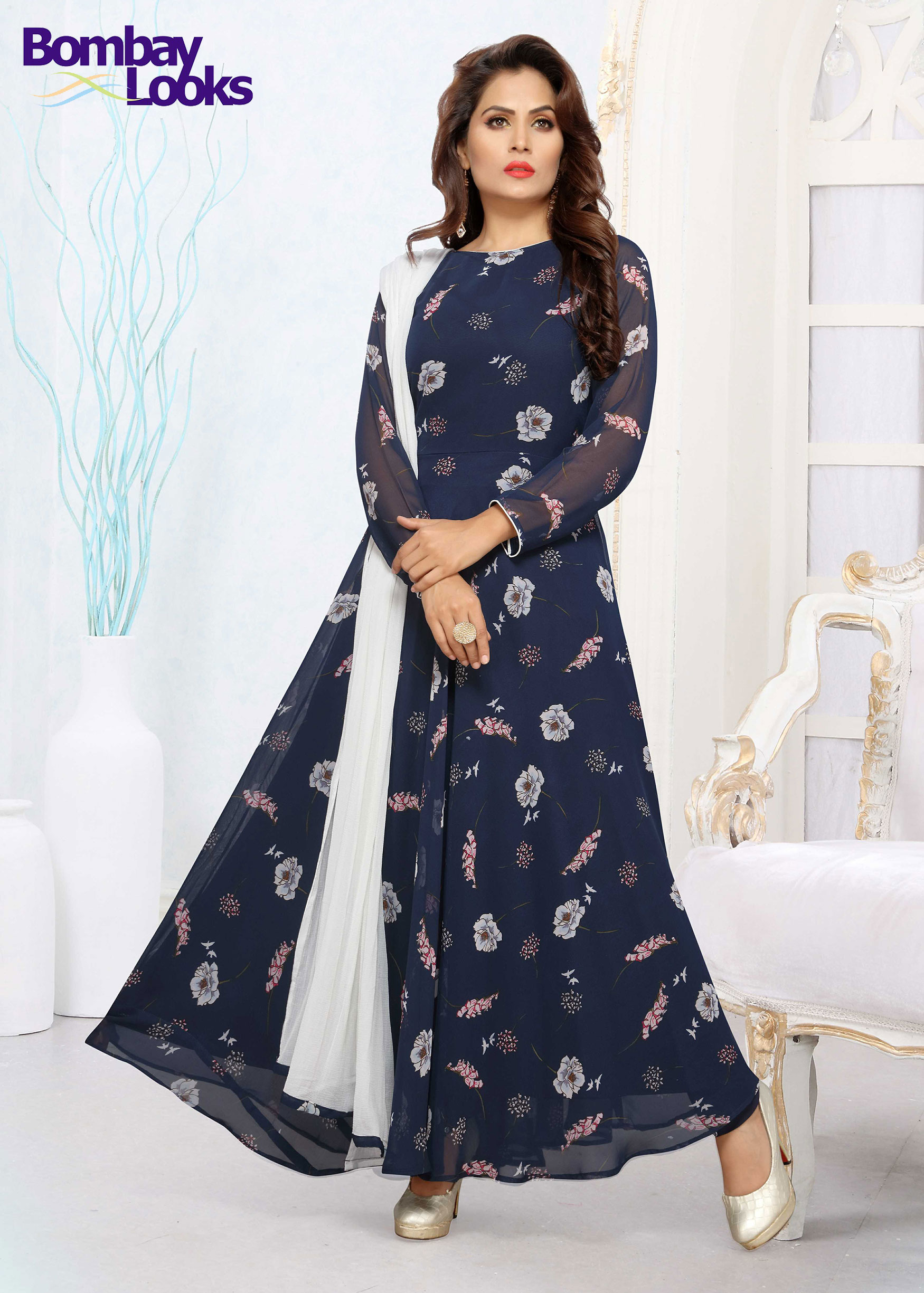 Navy floral print floor length Georgette suit with contrast dupatta