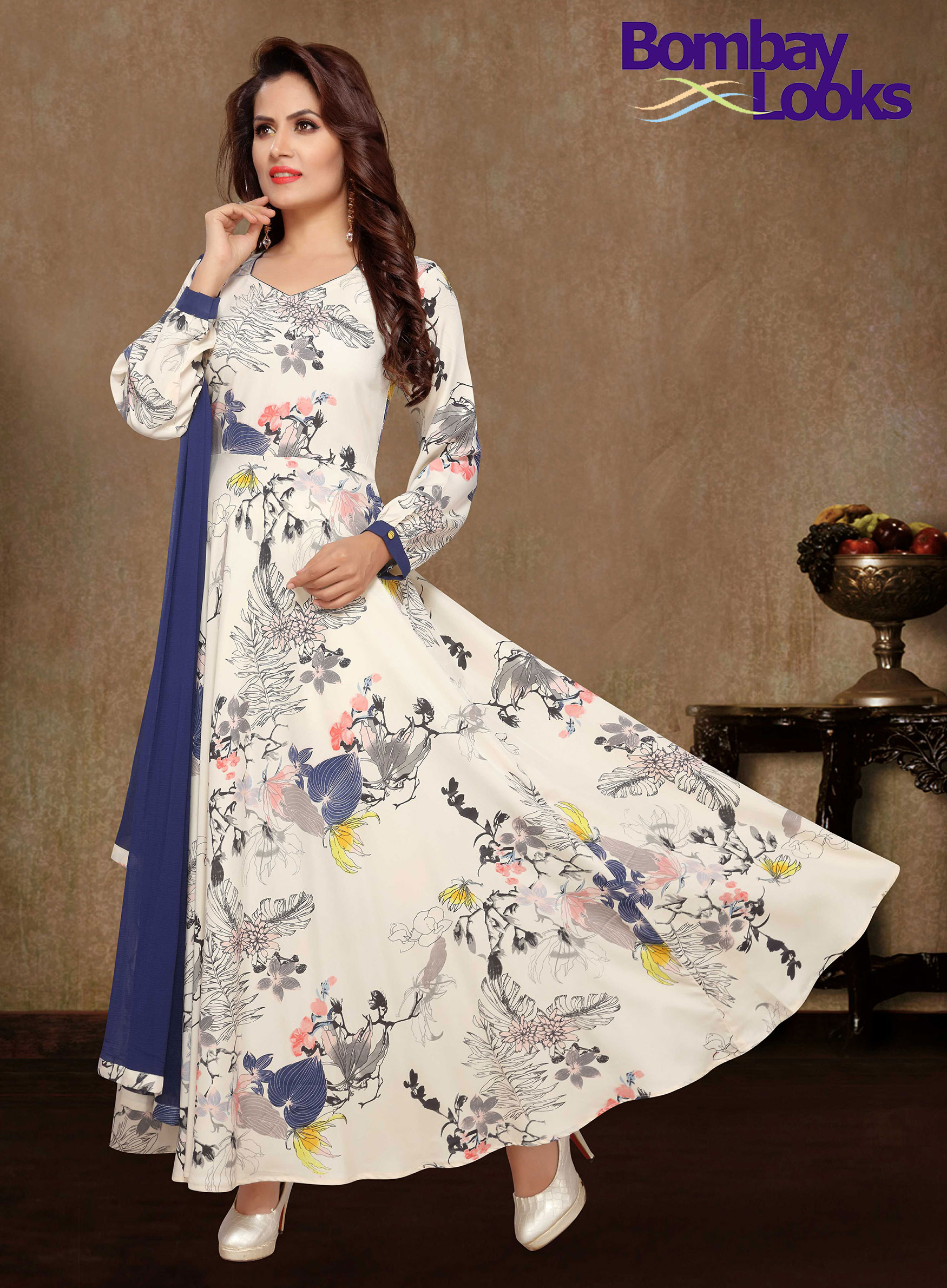 Off white floral print suit with contrast dupatta