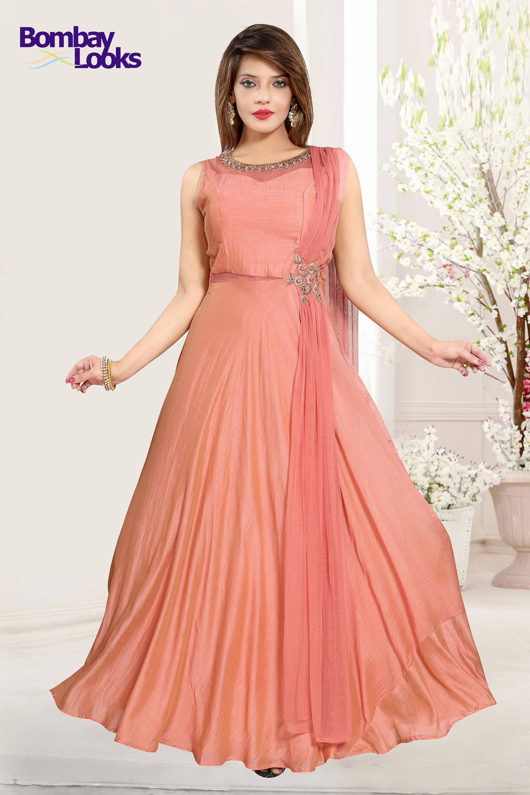 Peach dupatta attached Anarkali  suit