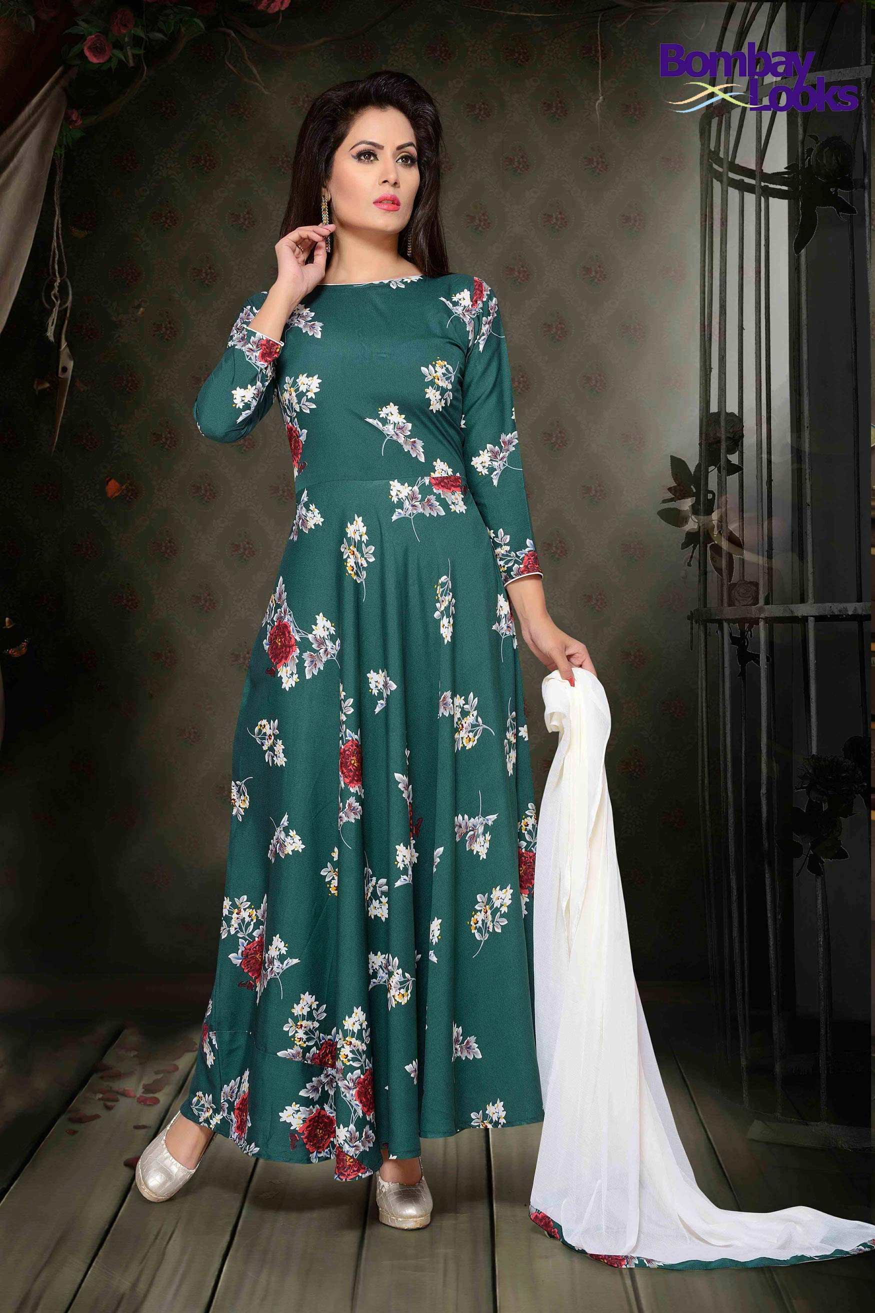 Dark green suit in floral print with contrast dupatta