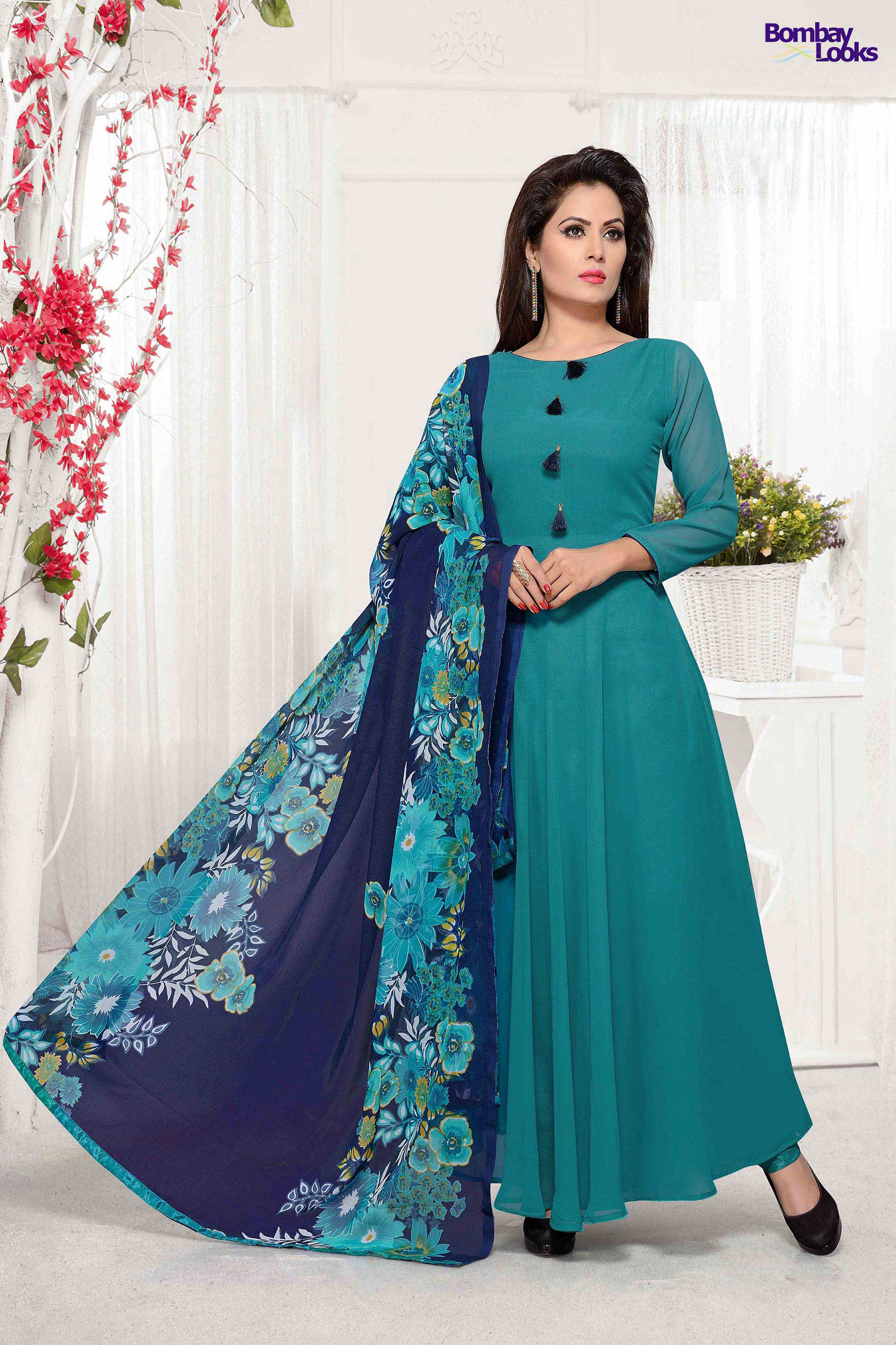 Jade Georgette floor length suit with contrast print dupatta
