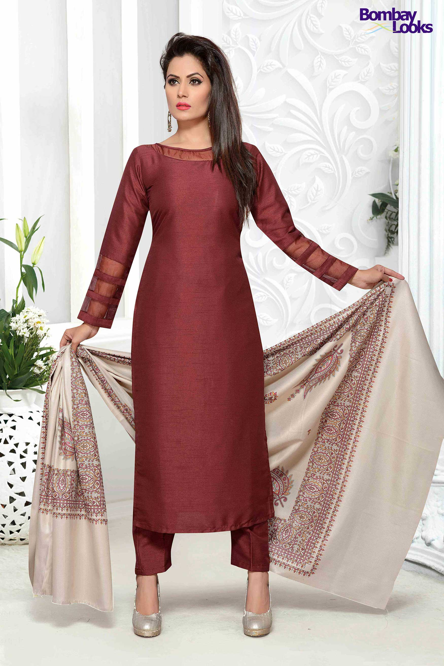 Maroon raw silk suit with shawl
