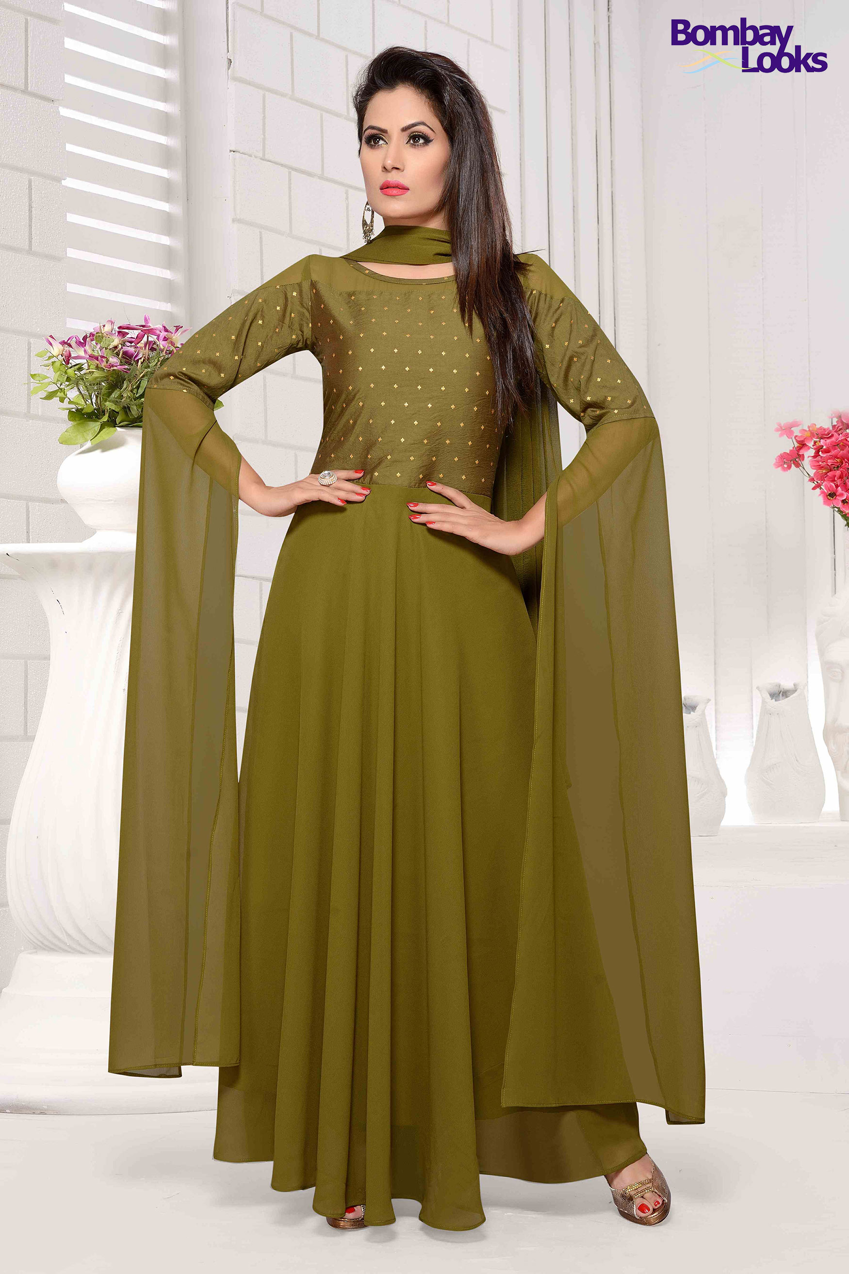 Bollywood Inspired extra long sleeves suit