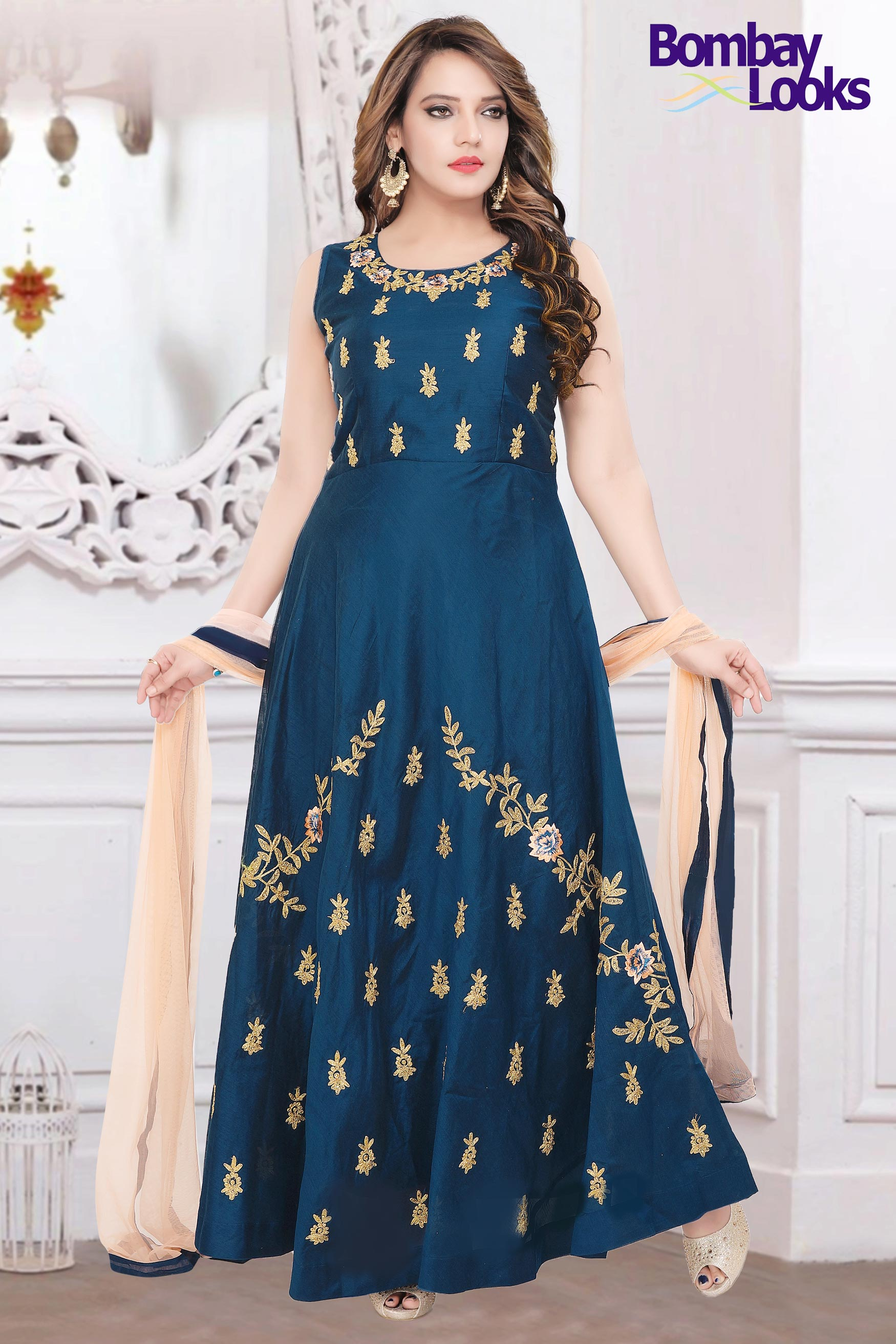 Blue barfi silk suit