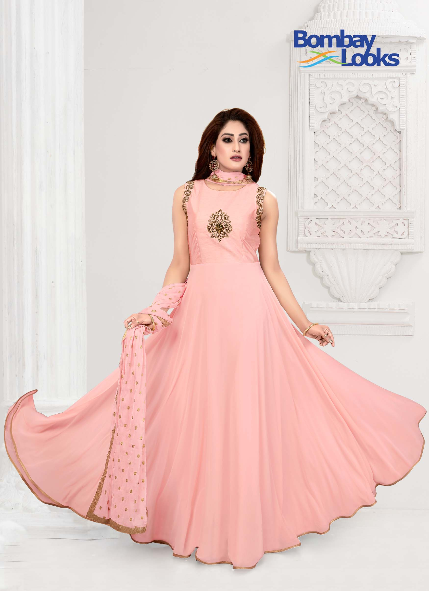 Long length peach anarkali suit with elegant stone embroidery