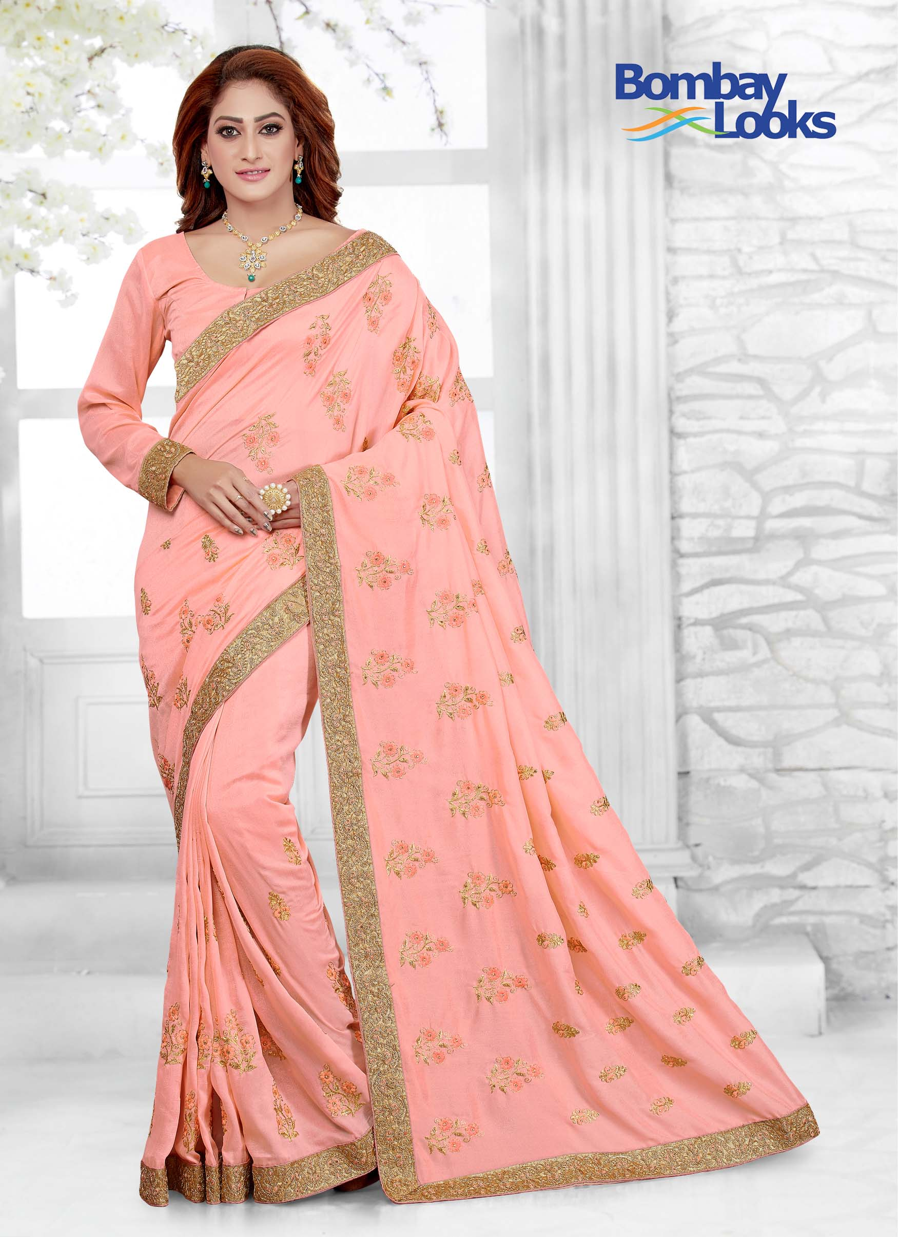 Peach saree with matching long sleeves blouse