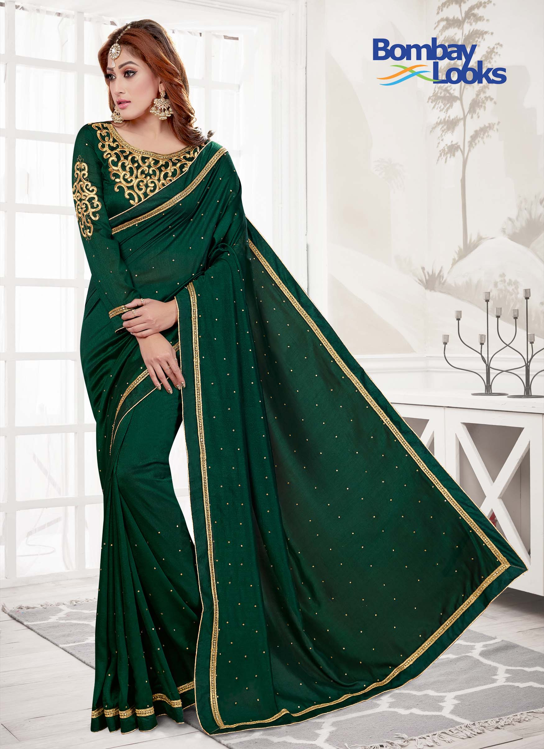 Designer classy  Saree in Emerald Green shade with embroidery blouse