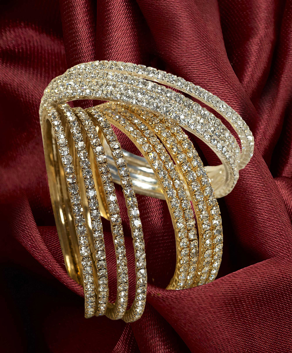 Magnificent silver sequinned diamante gold bangle